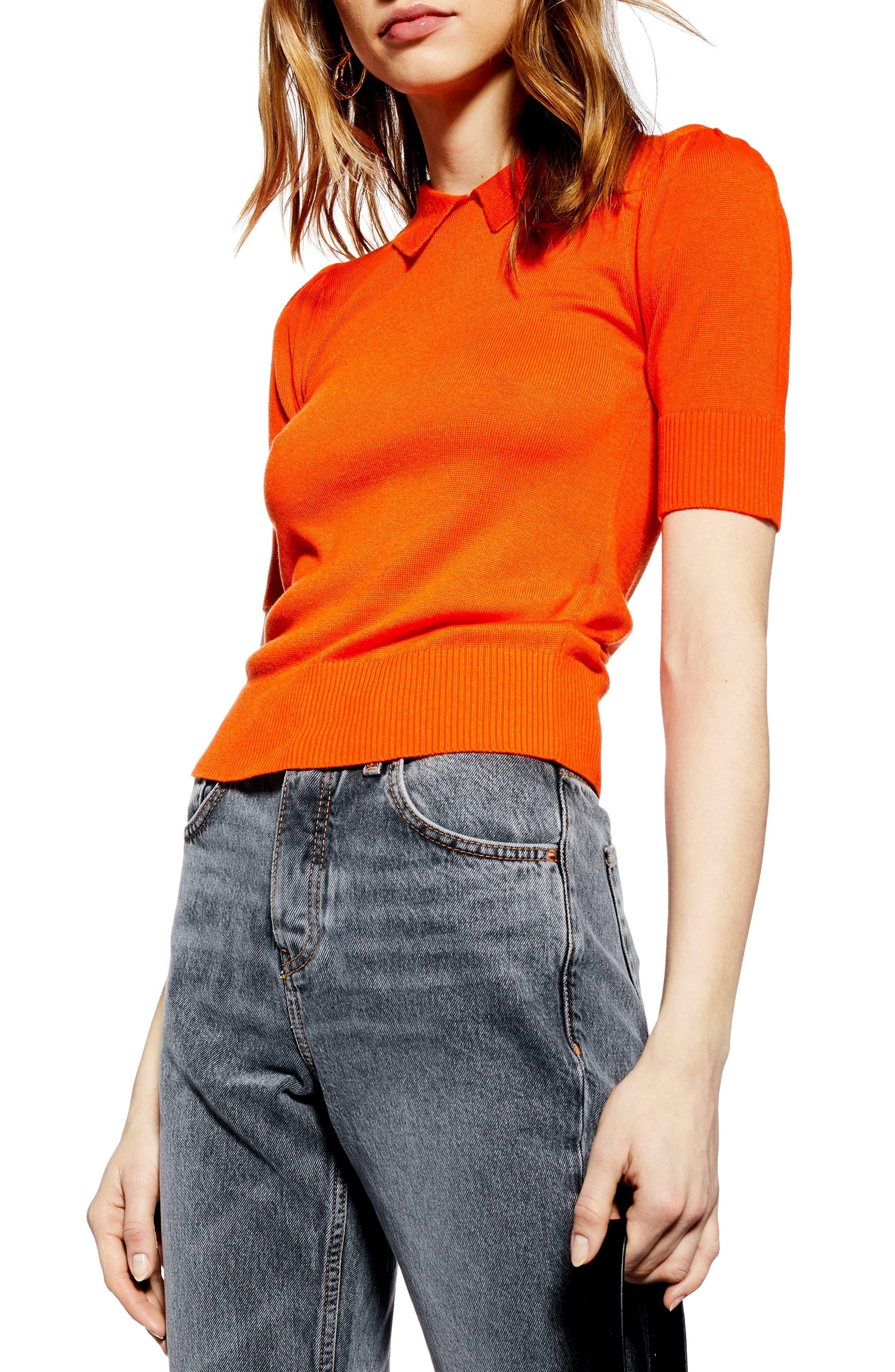 Topshop Polo Neck Sweater, Orange