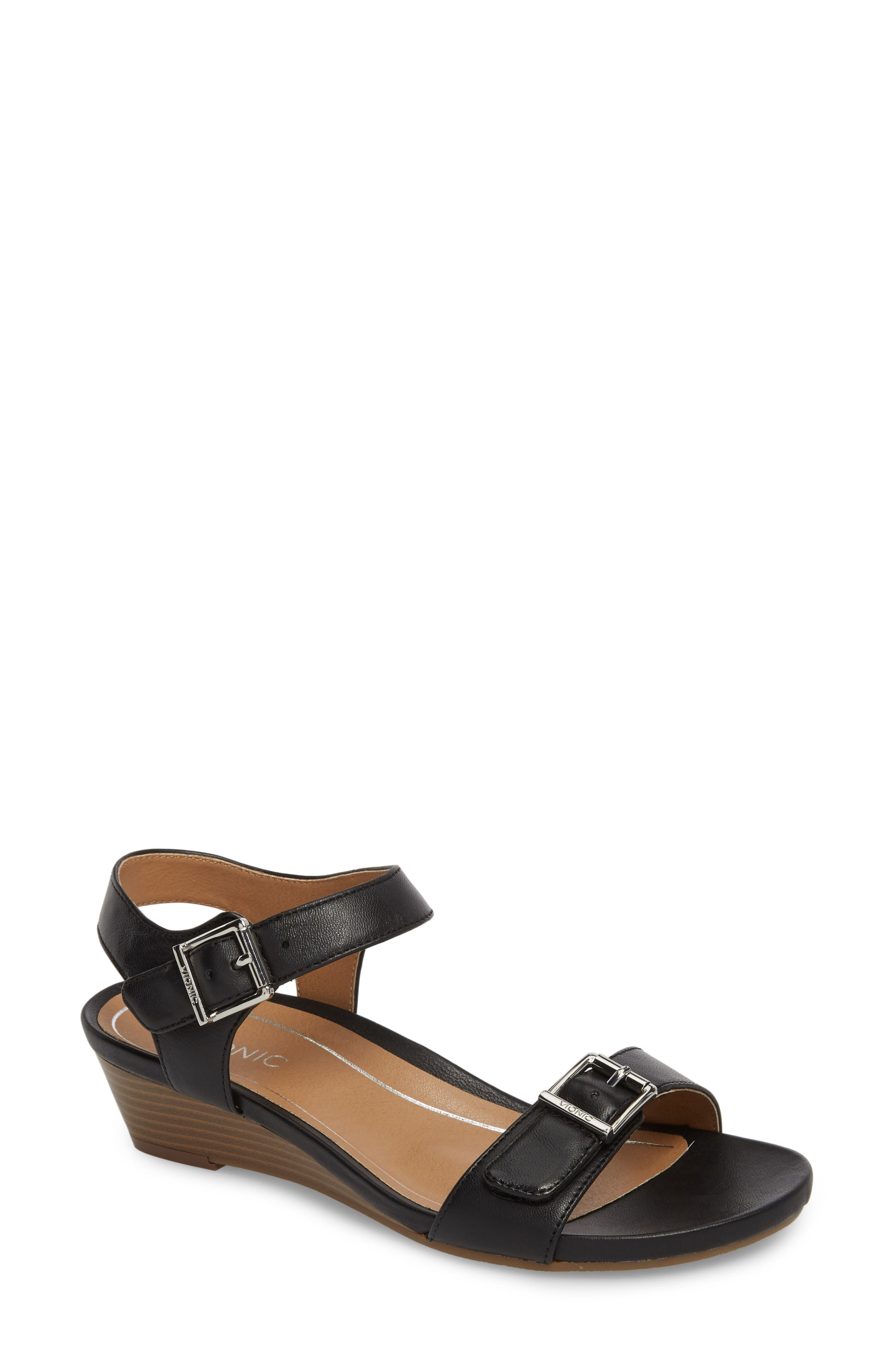 Frances Wedge Sandal,                             Main thumbnail 1, color,                             001