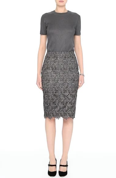 Plume Embroidered Lace Pencil Skirt, video thumbnail
