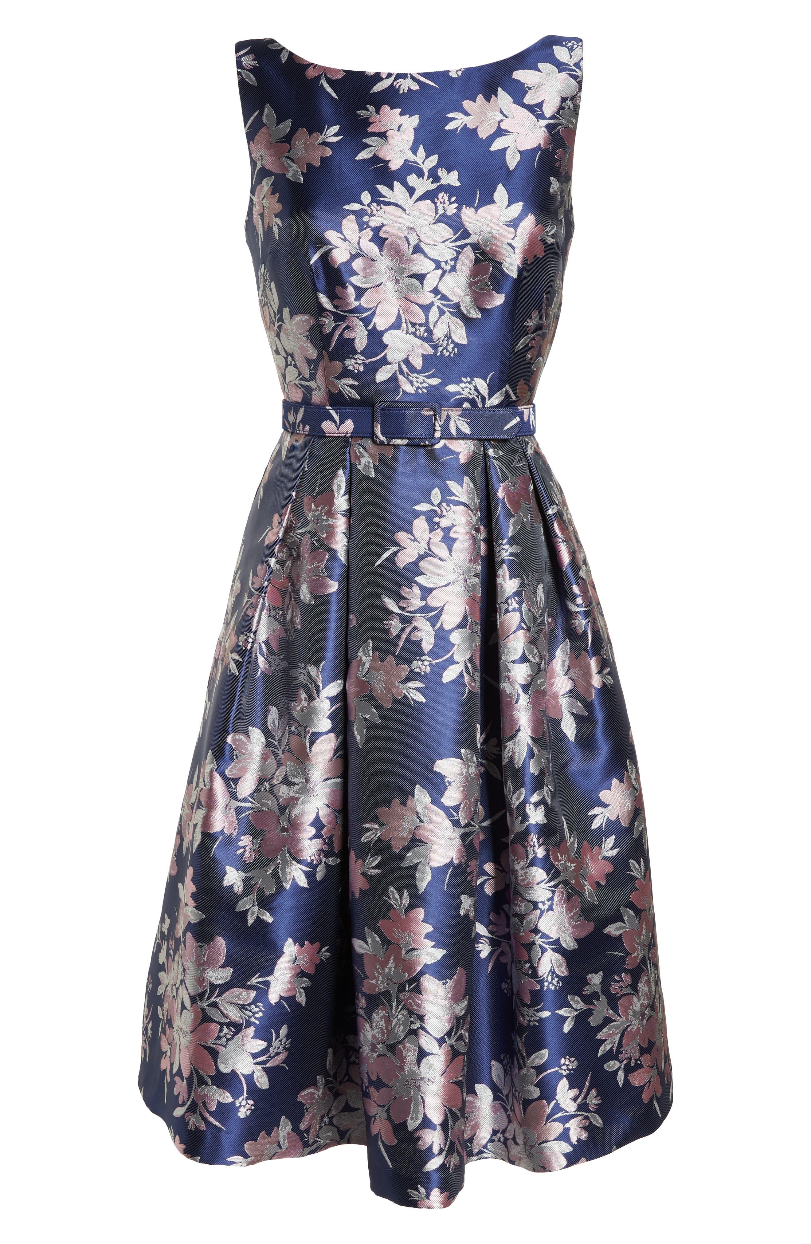 Floral Jacquard Fit & Flare Dress,                             Alternate thumbnail 6, color,                             NAVY