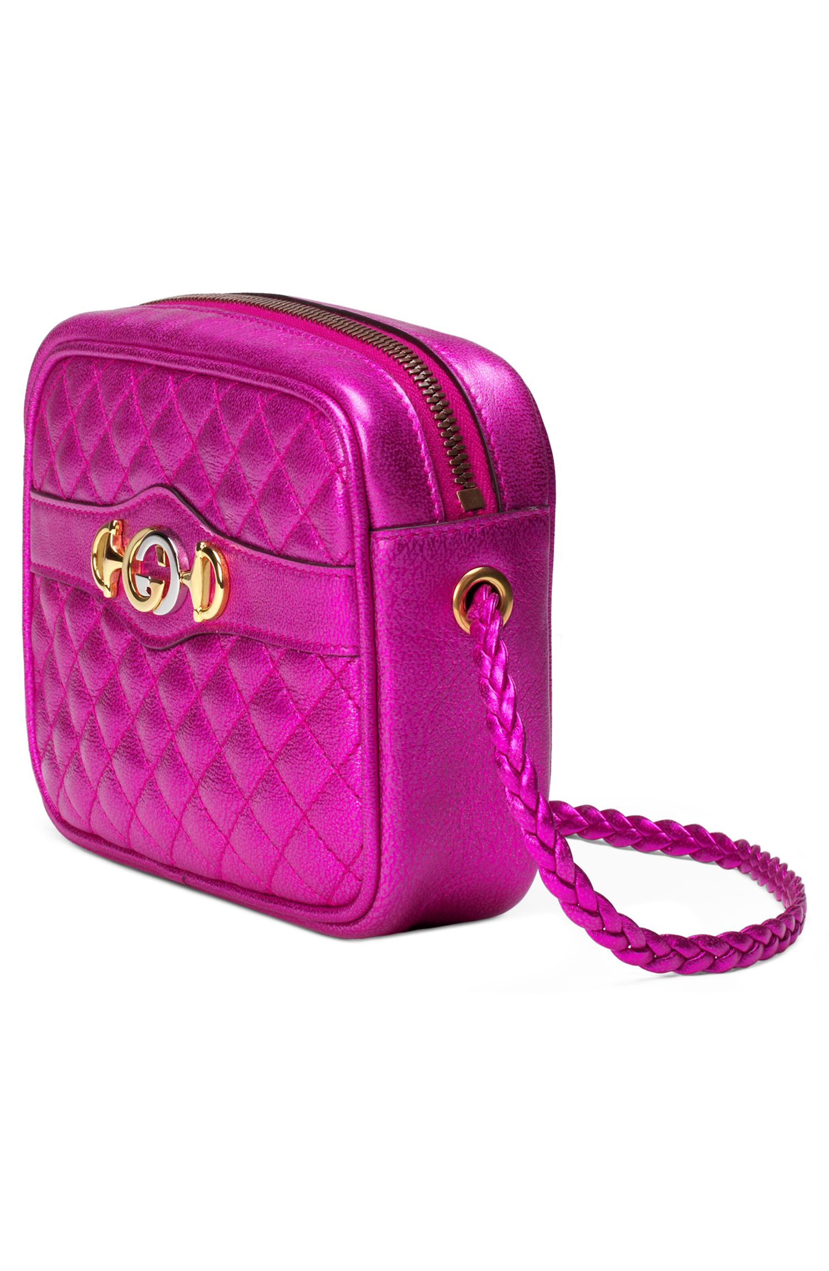 Quilted Metallic Leather Camera Bag,                             Alternate thumbnail 4, color,                             FUXIA