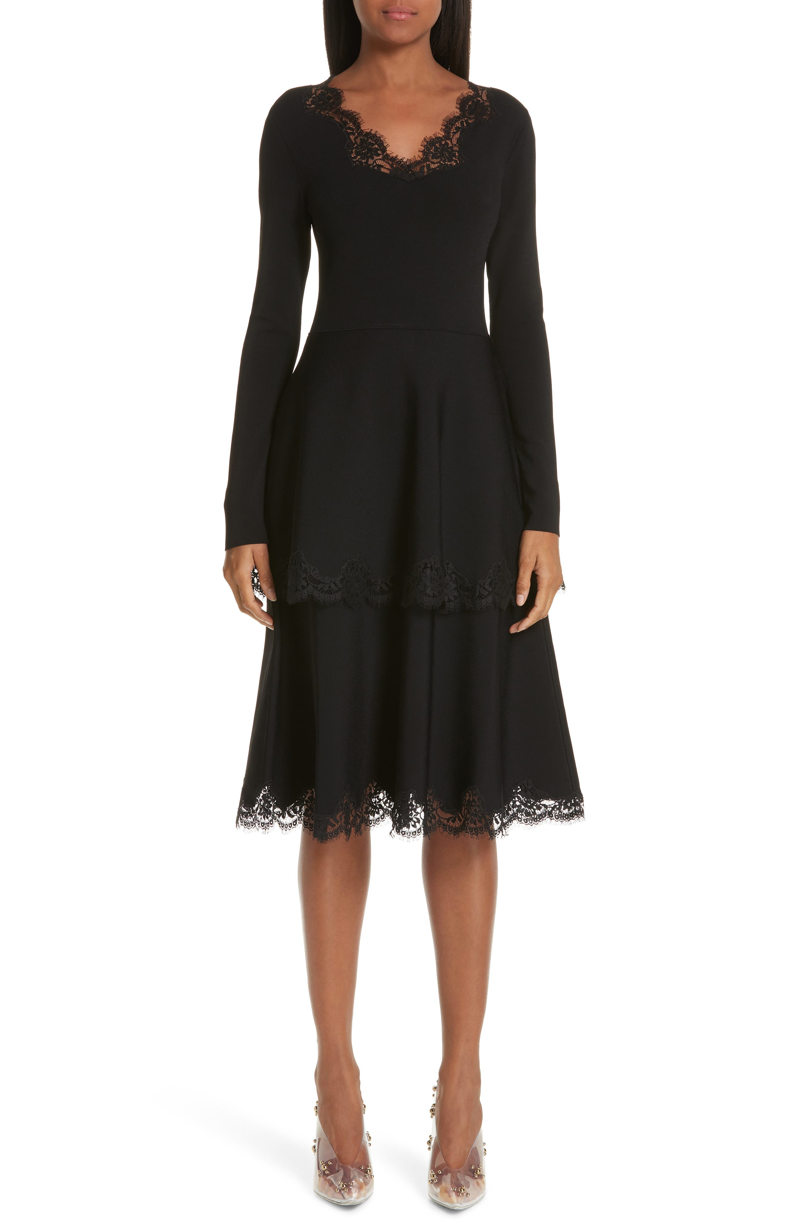 Lace Trim Tiered Sweater Dress,                             Main thumbnail 1, color,                             BLACK