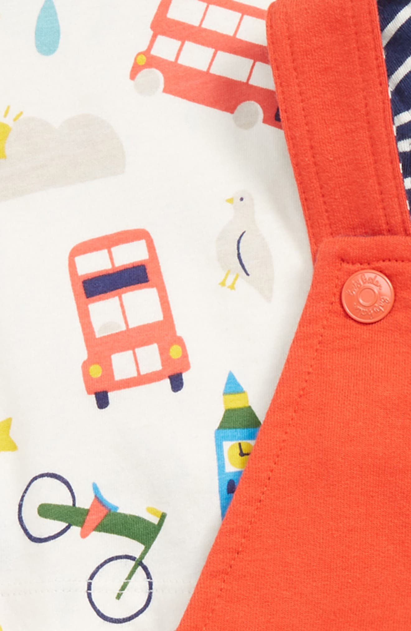 MINI BODEN,                             Fun Dungaree Play T-Shirt & Overalls Set,                             Alternate thumbnail 3, color,                             RED BEAM RED