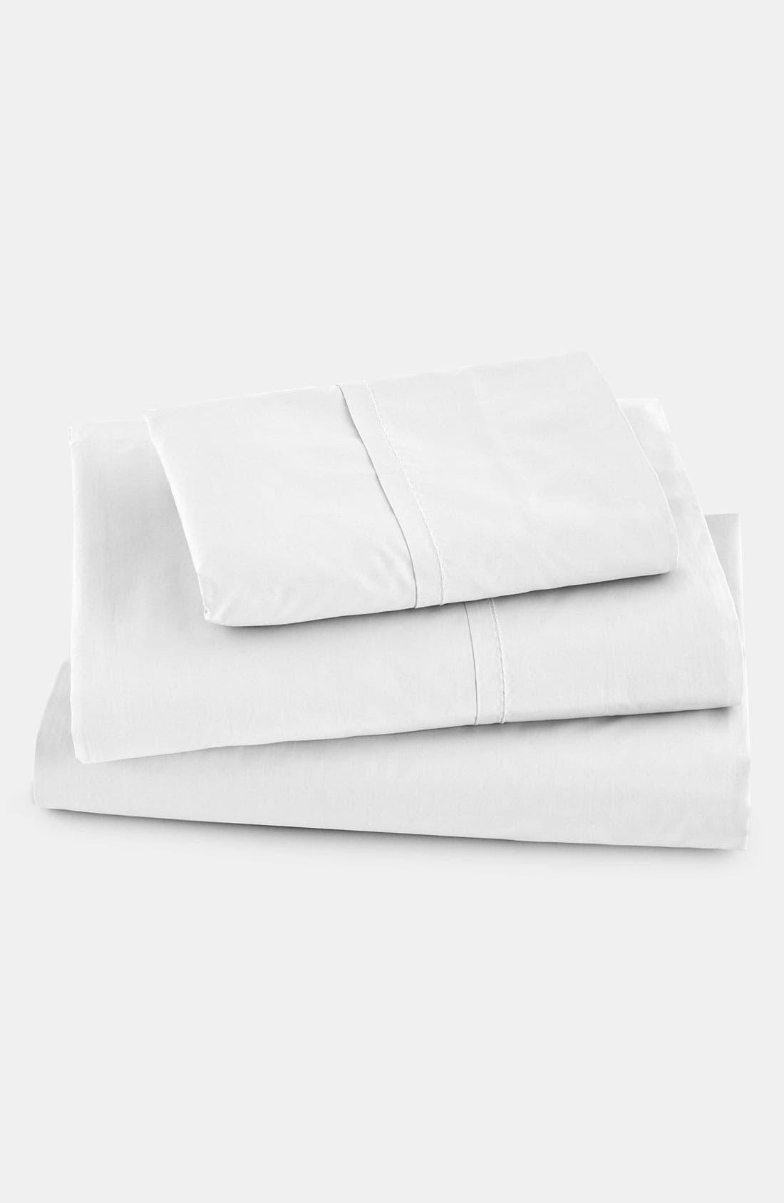 Donna Karan 'The Essential' 410 Thread Count Flat Sheet,                             Main thumbnail 1, color,                             100