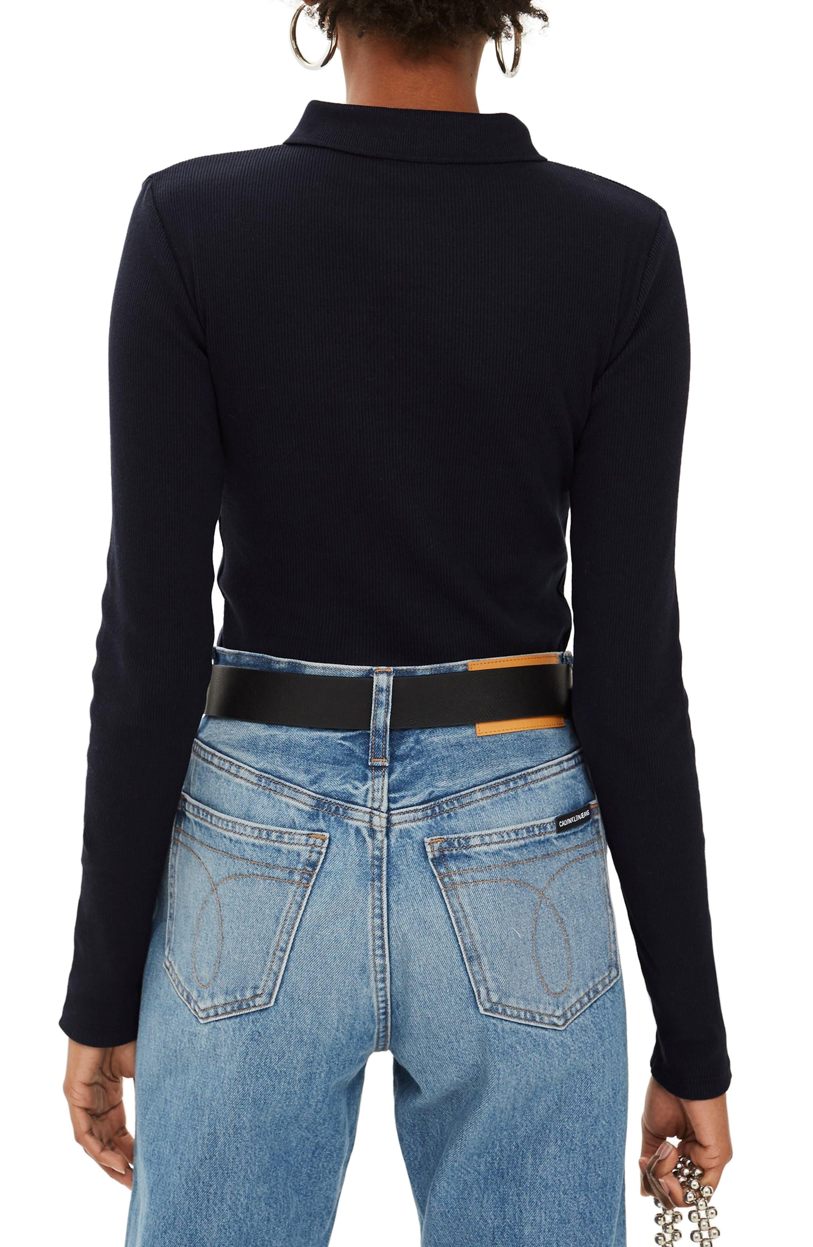 Front Zip Polo Shirt,                             Alternate thumbnail 2, color,                             NAVY BLUE