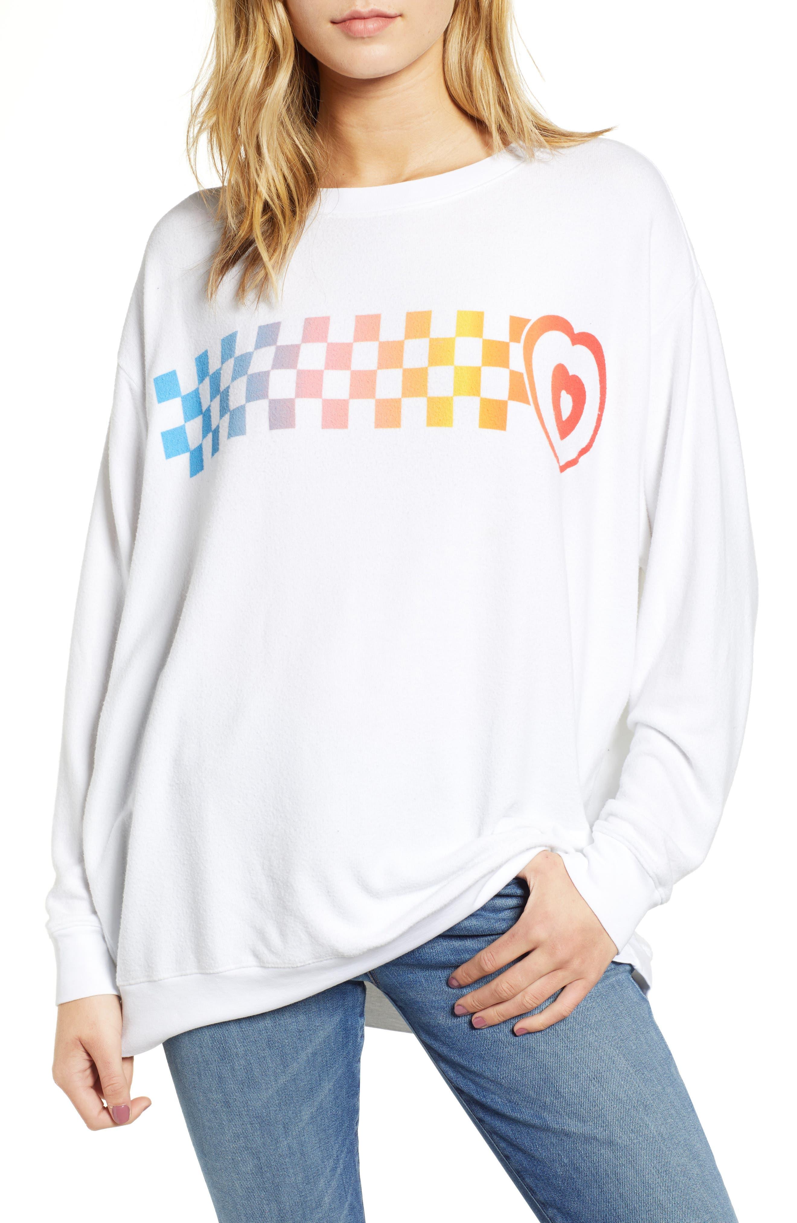 Roadtrip - Racer Check Sweatshirt,                         Main,                         color, CLEAN WHITE