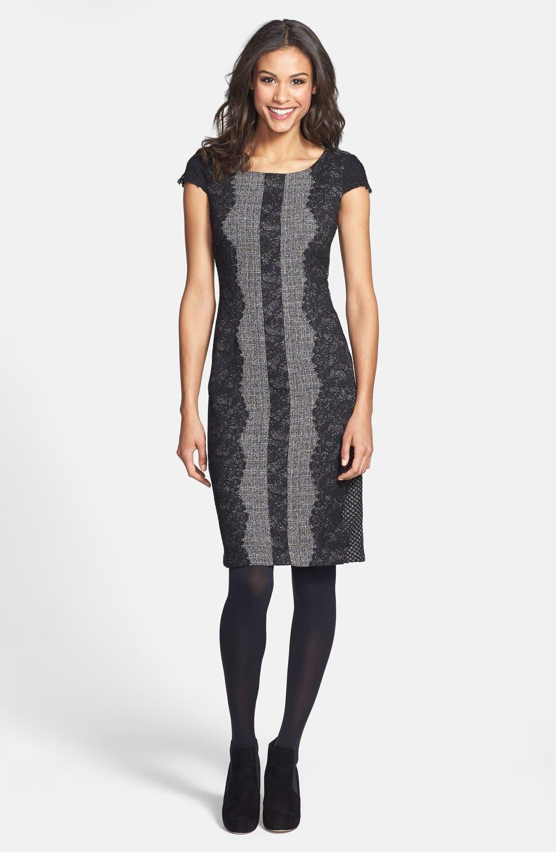 Lace Trim Tweed Sheath Dress,                             Alternate thumbnail 5, color,                             020