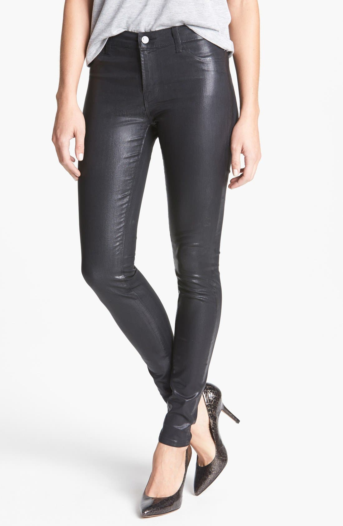 '815' Coated Skinny Pants, Main, color, 001