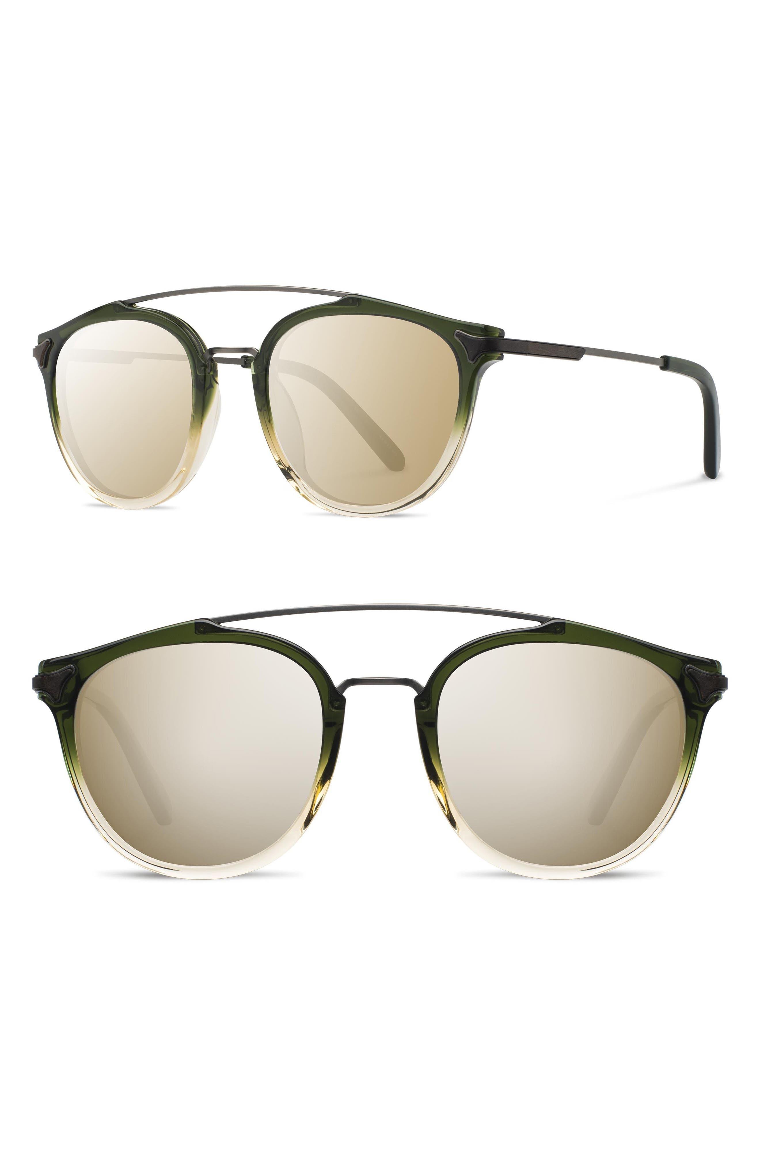 Shwood Kinsrow 4m Acetate & Wood Sunglasses - Mojito/ Gold Mirror