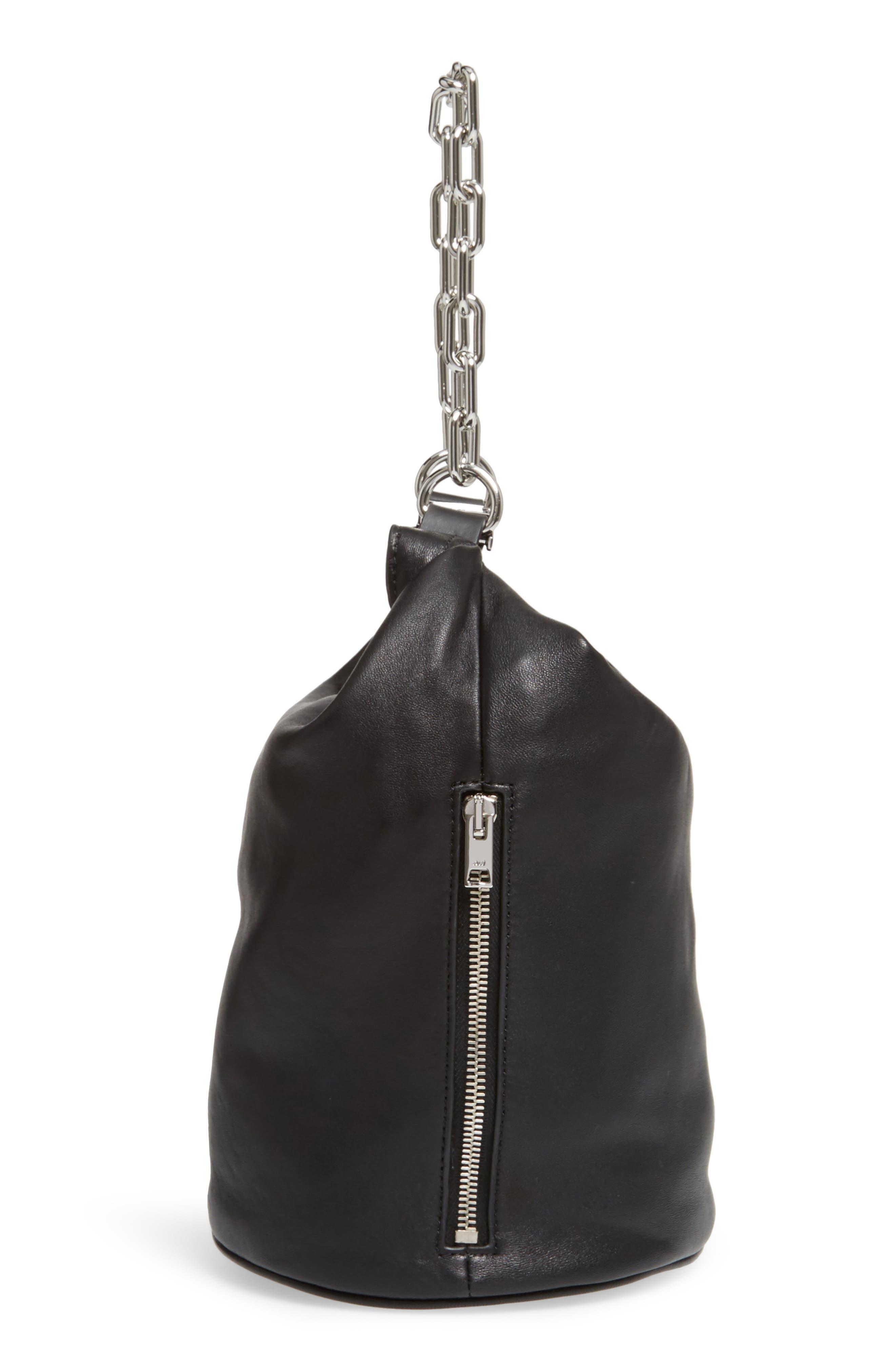 Attica Leather Bucket Bag,                             Alternate thumbnail 6, color,                             001