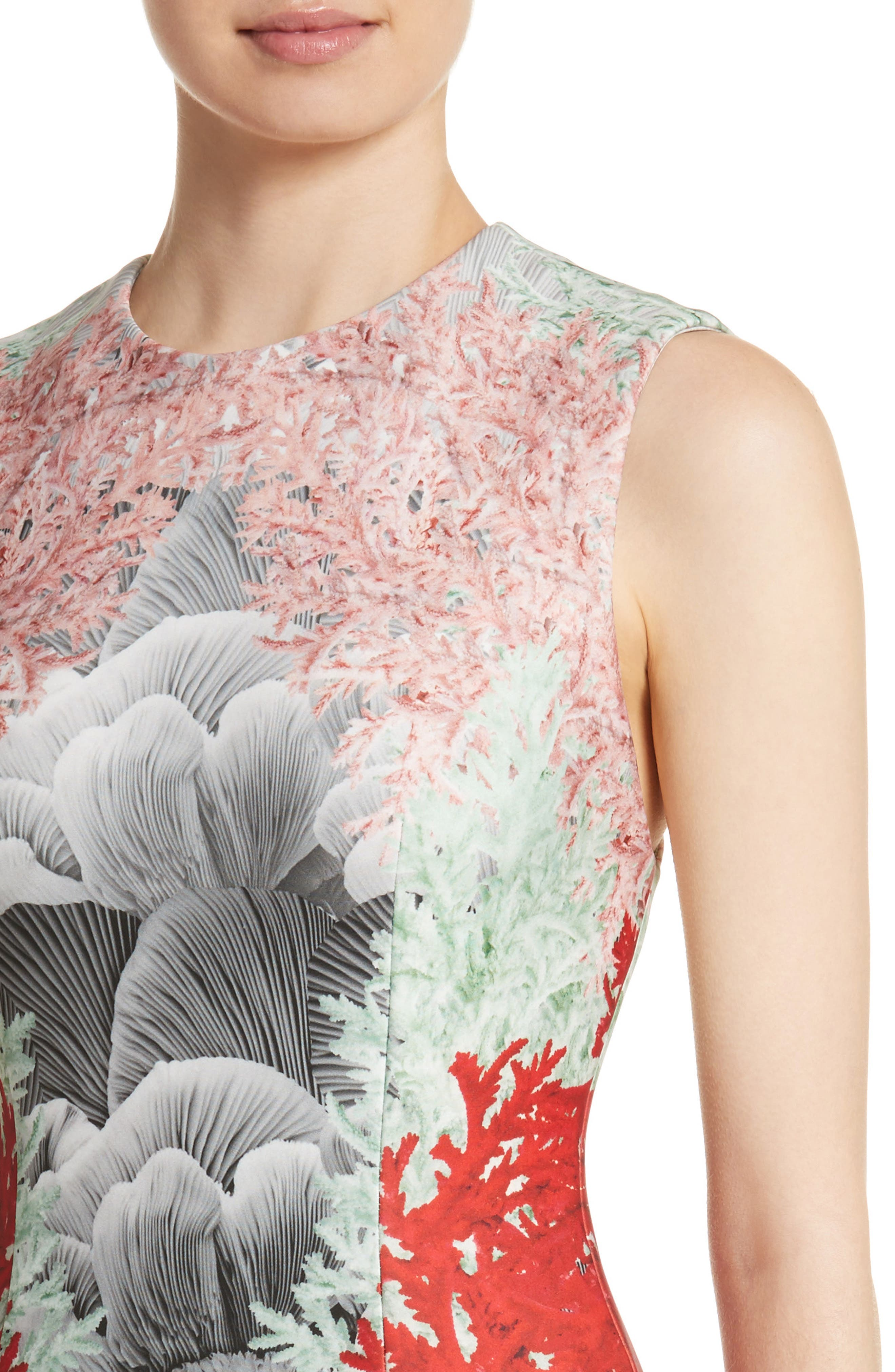 Coral Print Scuba Sheath Dress,                             Alternate thumbnail 4, color,