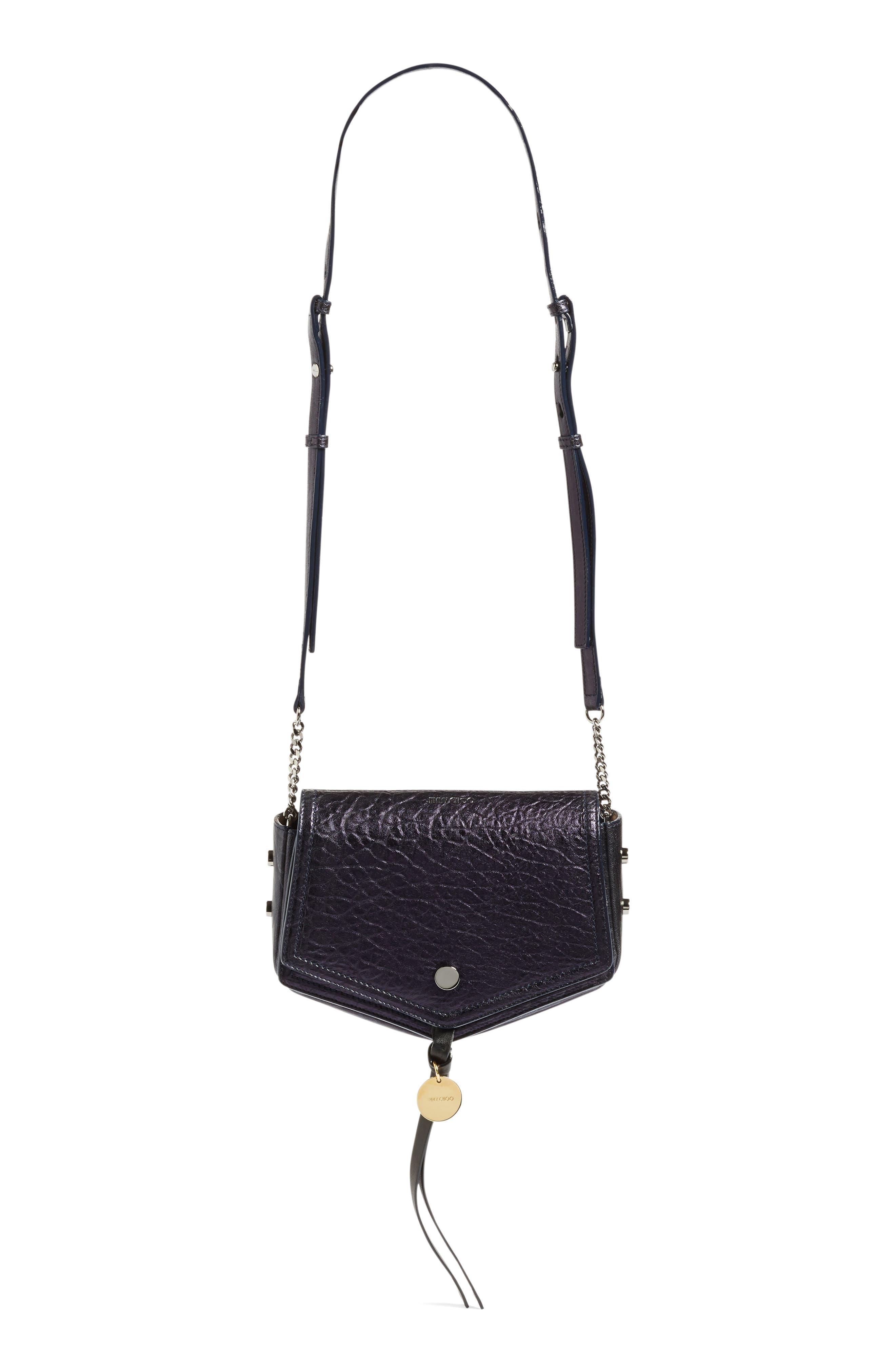 Arrow Metallic Grained Leather Shoulder Bag,                             Alternate thumbnail 5, color,