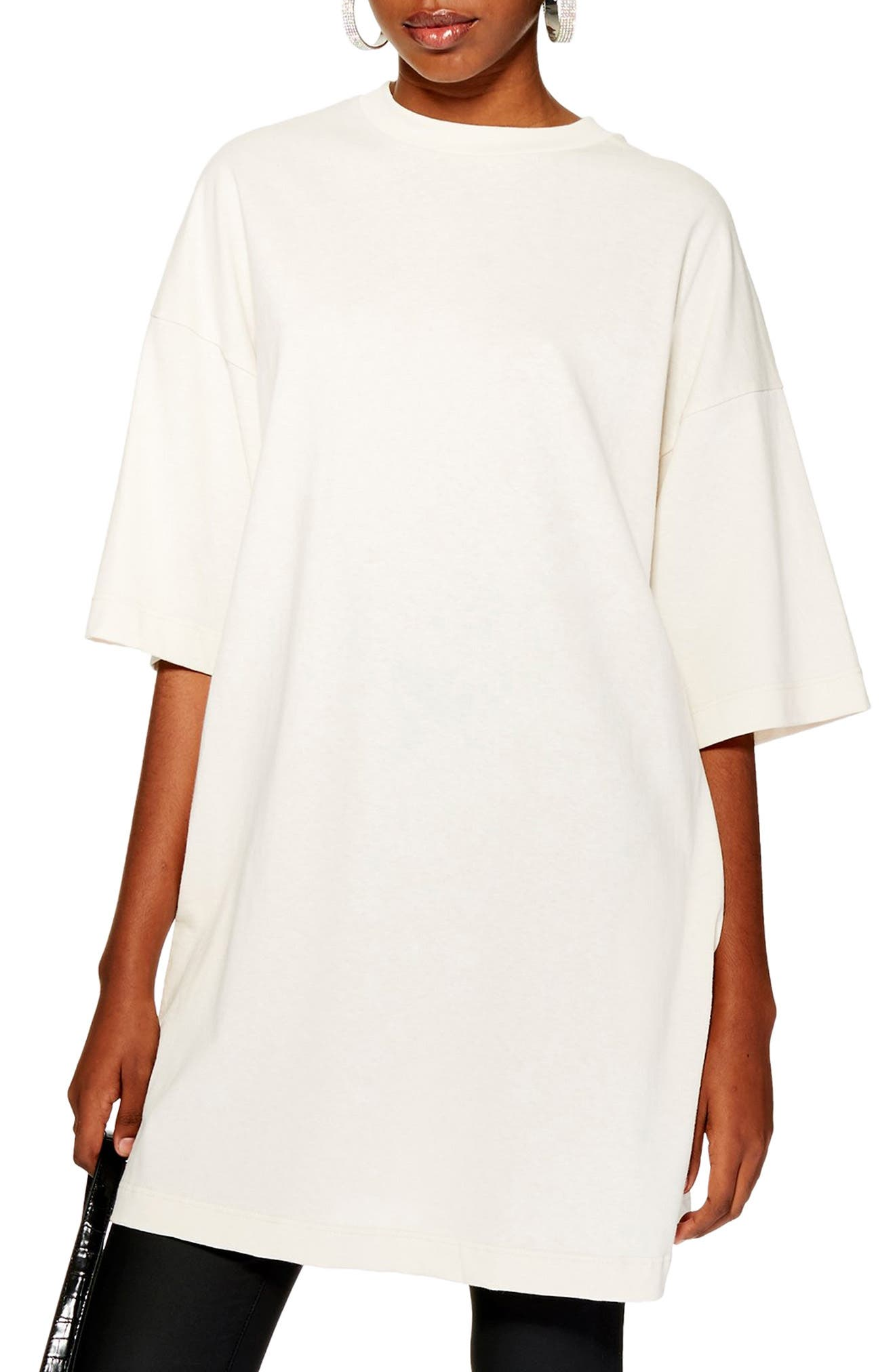 TOPSHOP,                             Boyfriend Tunic Tee,                             Main thumbnail 1, color,                             CREAM