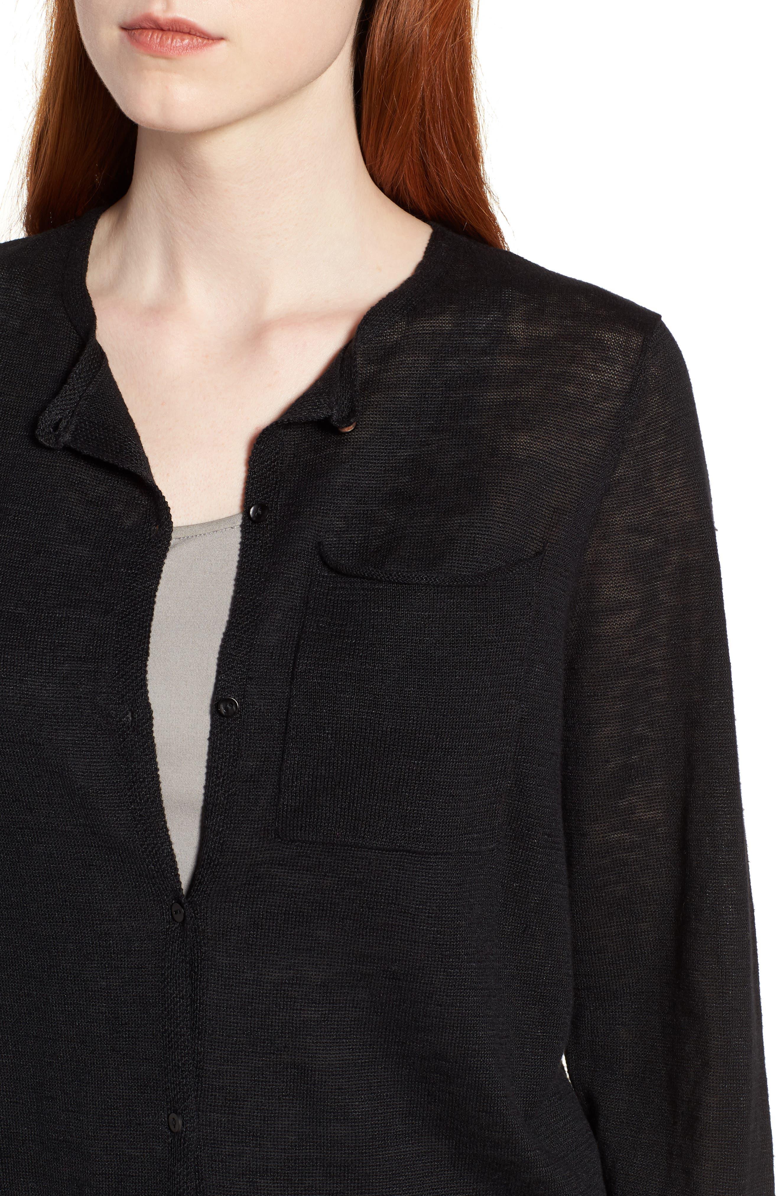 Long Organic Linen Cardigan,                             Alternate thumbnail 4, color,                             001