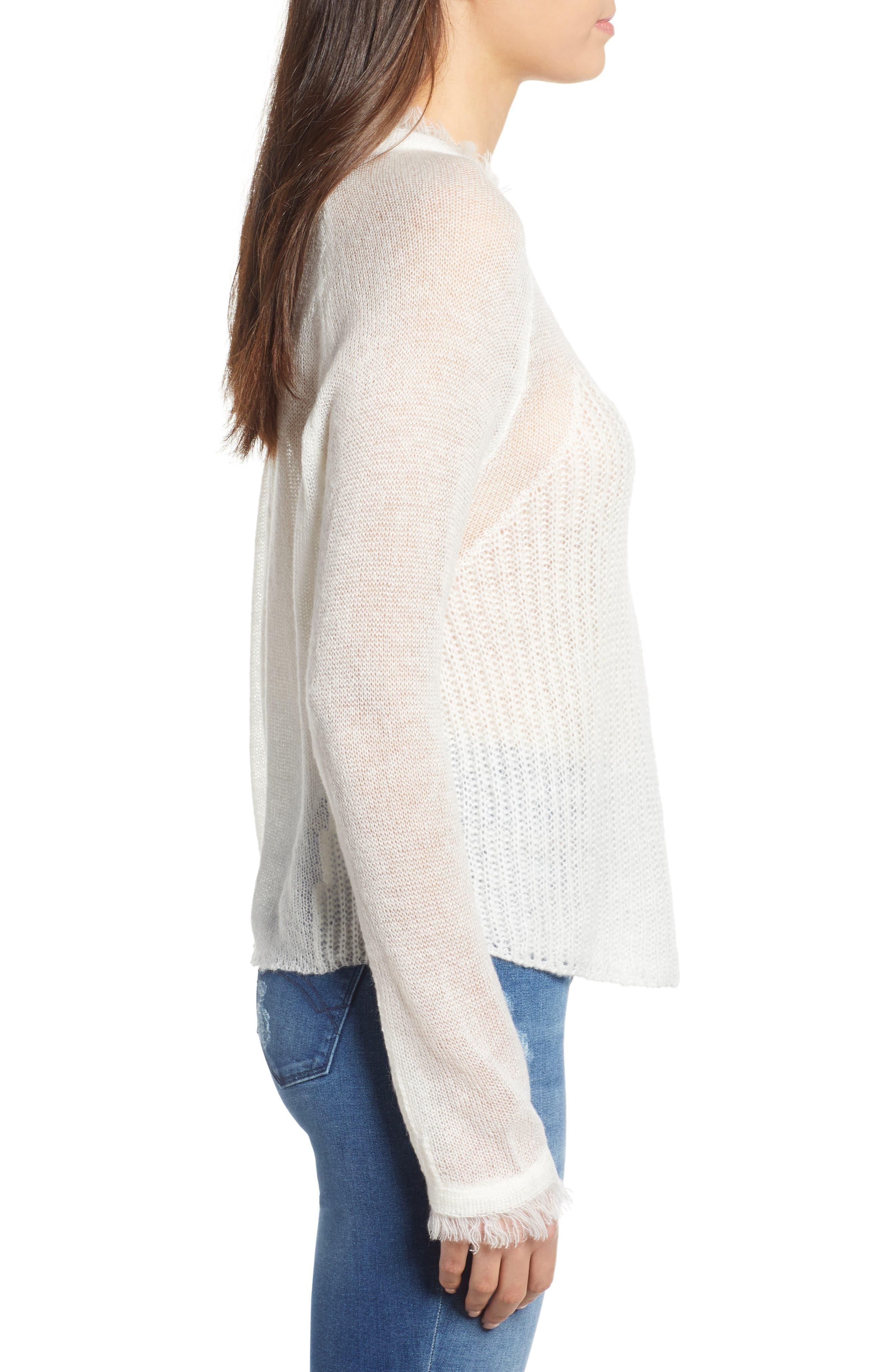 Fringed Sweater,                             Alternate thumbnail 3, color,                             IVORY