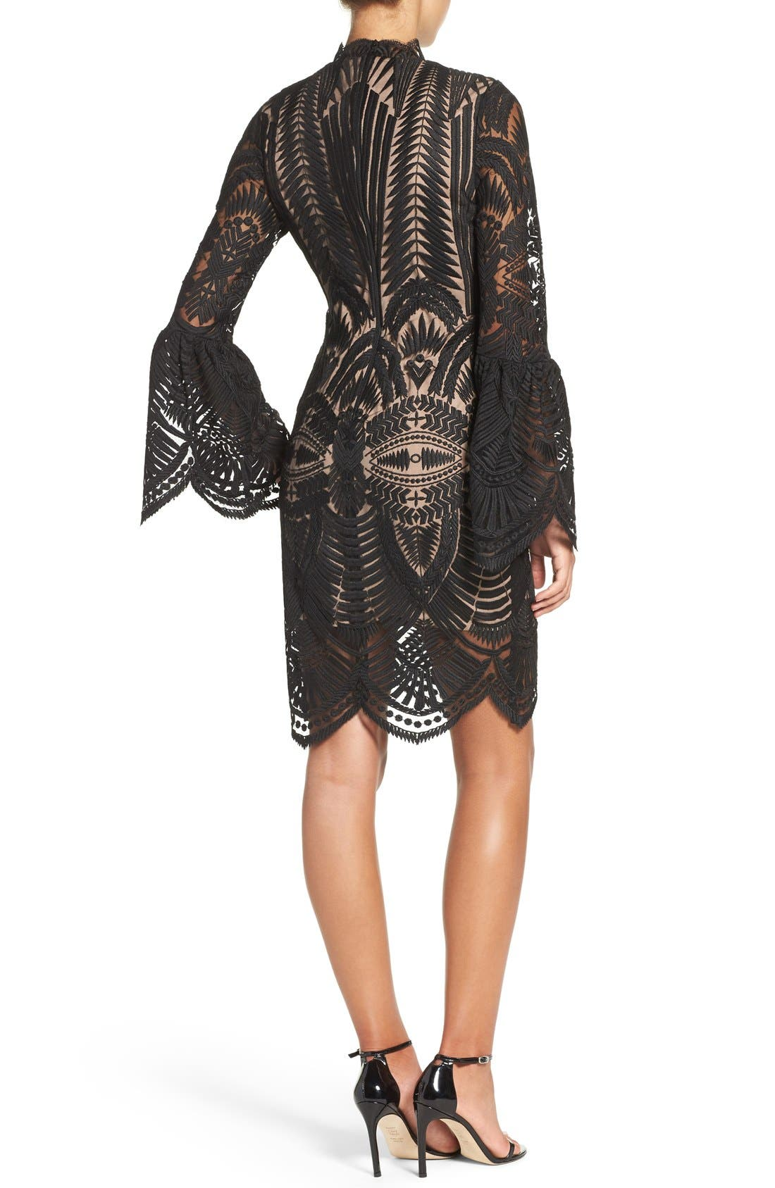 'Emmie' Bell Sleeve Lace Sheath Dress,                             Alternate thumbnail 5, color,                             001