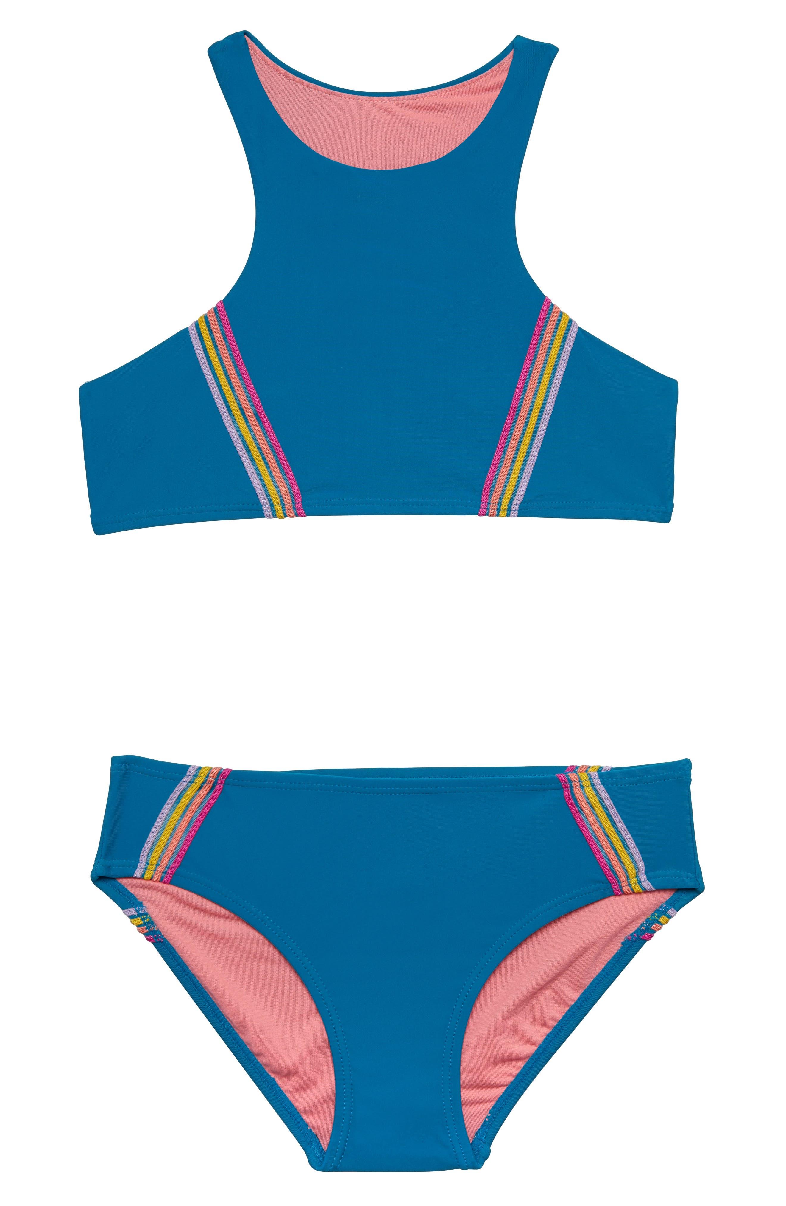 Girls Gossip Girl Color Of Fun TwoPiece Swimsuit Size 12  Blue