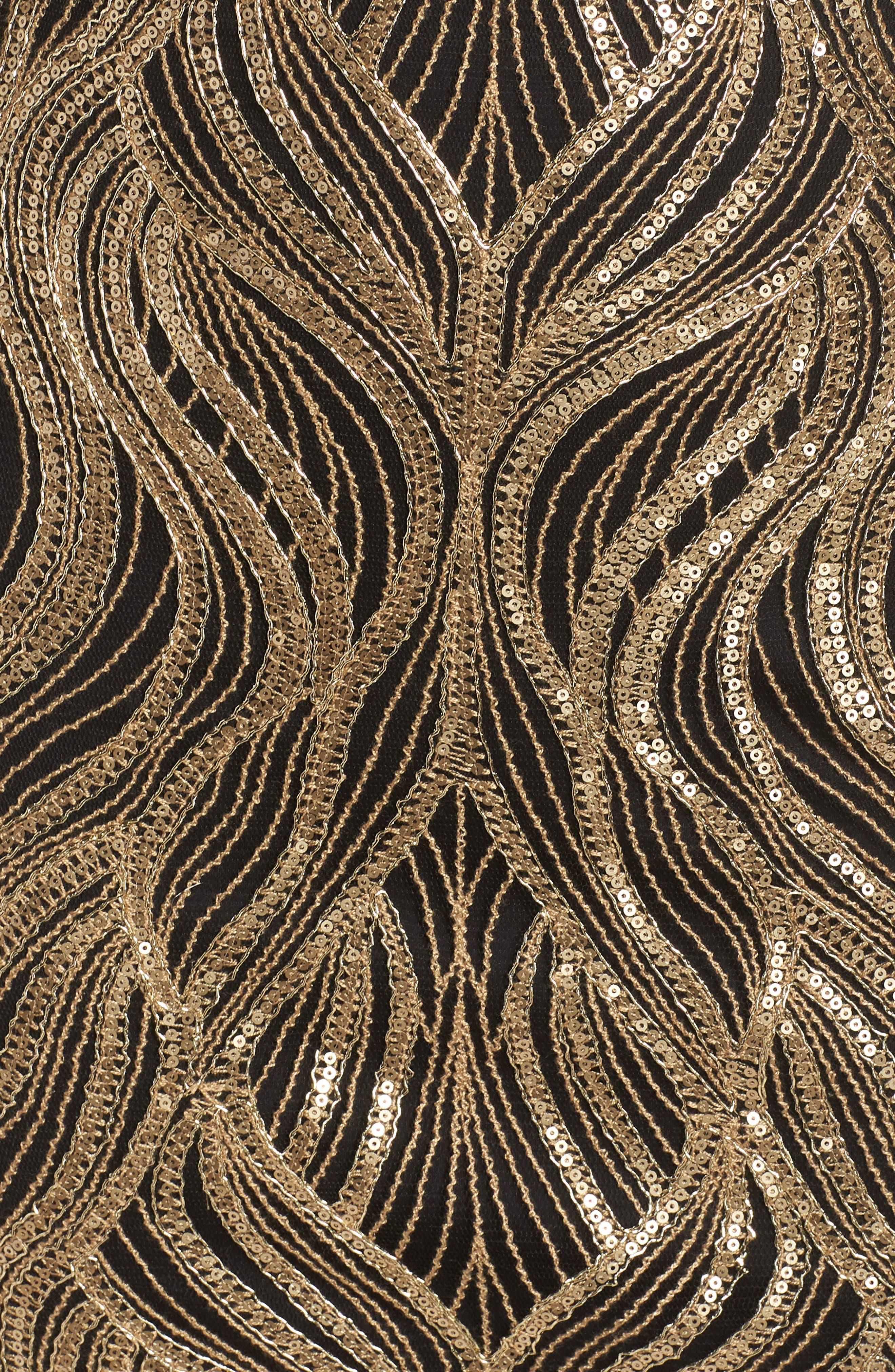 Long Sleeve Sequin Mesh Cocktail Dress,                             Alternate thumbnail 6, color,                             GOLD/ BLACK
