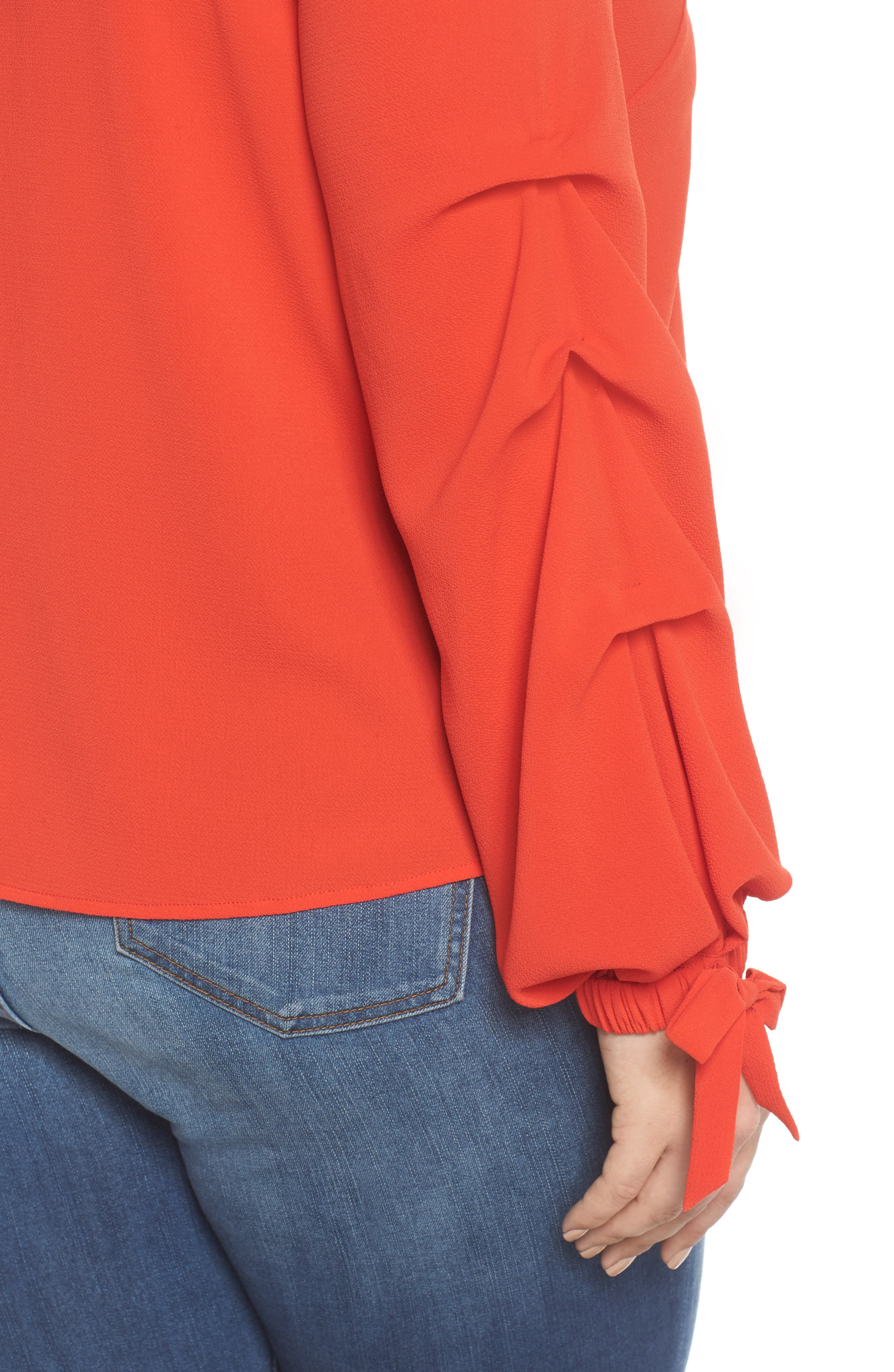 Tiered Tie Cuff Crepe Blouse,                             Alternate thumbnail 4, color,                             626