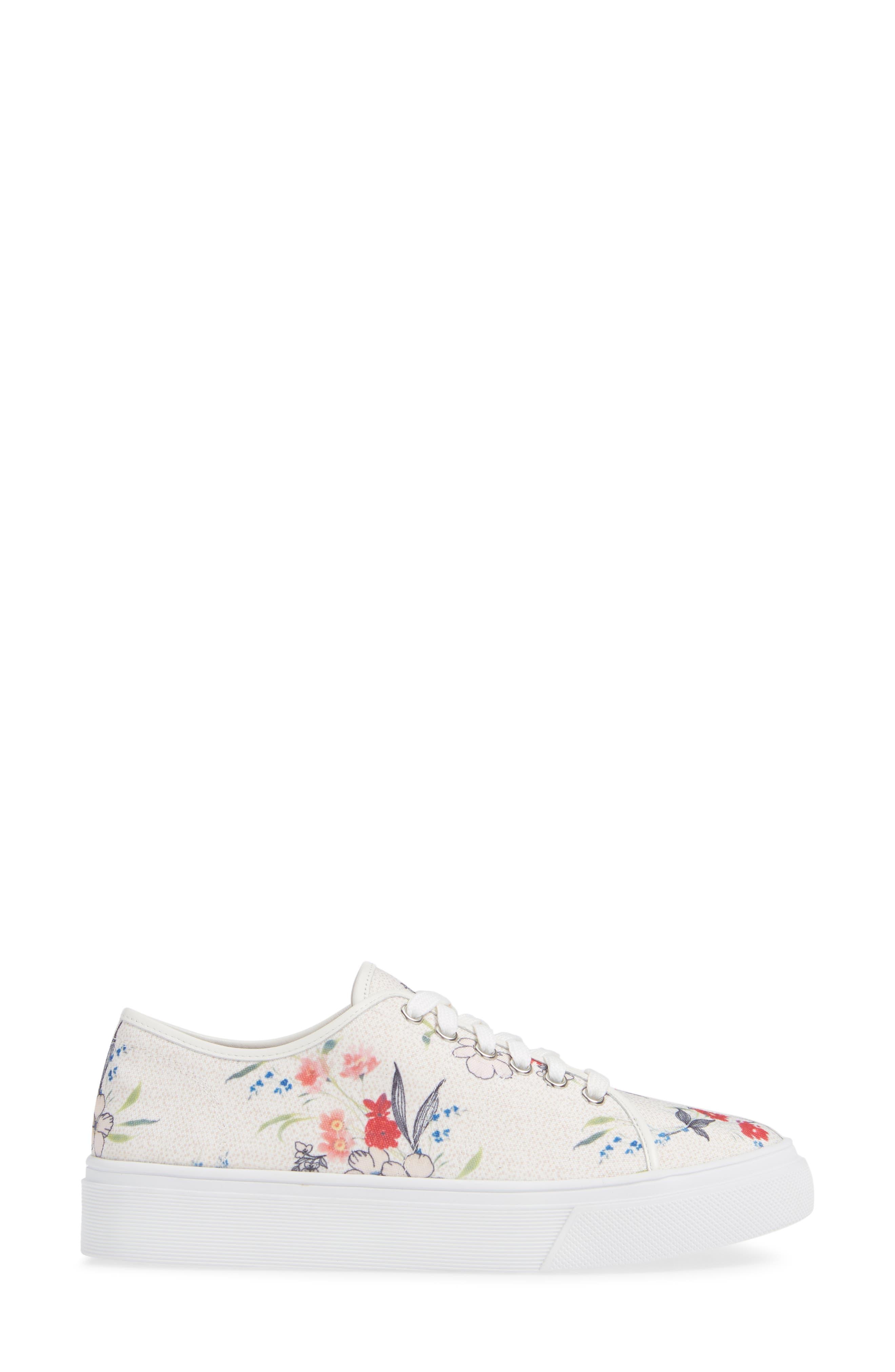 Ethan Low-Top Sneaker,                             Alternate thumbnail 3, color,                             WHITE FLORAL CANVAS