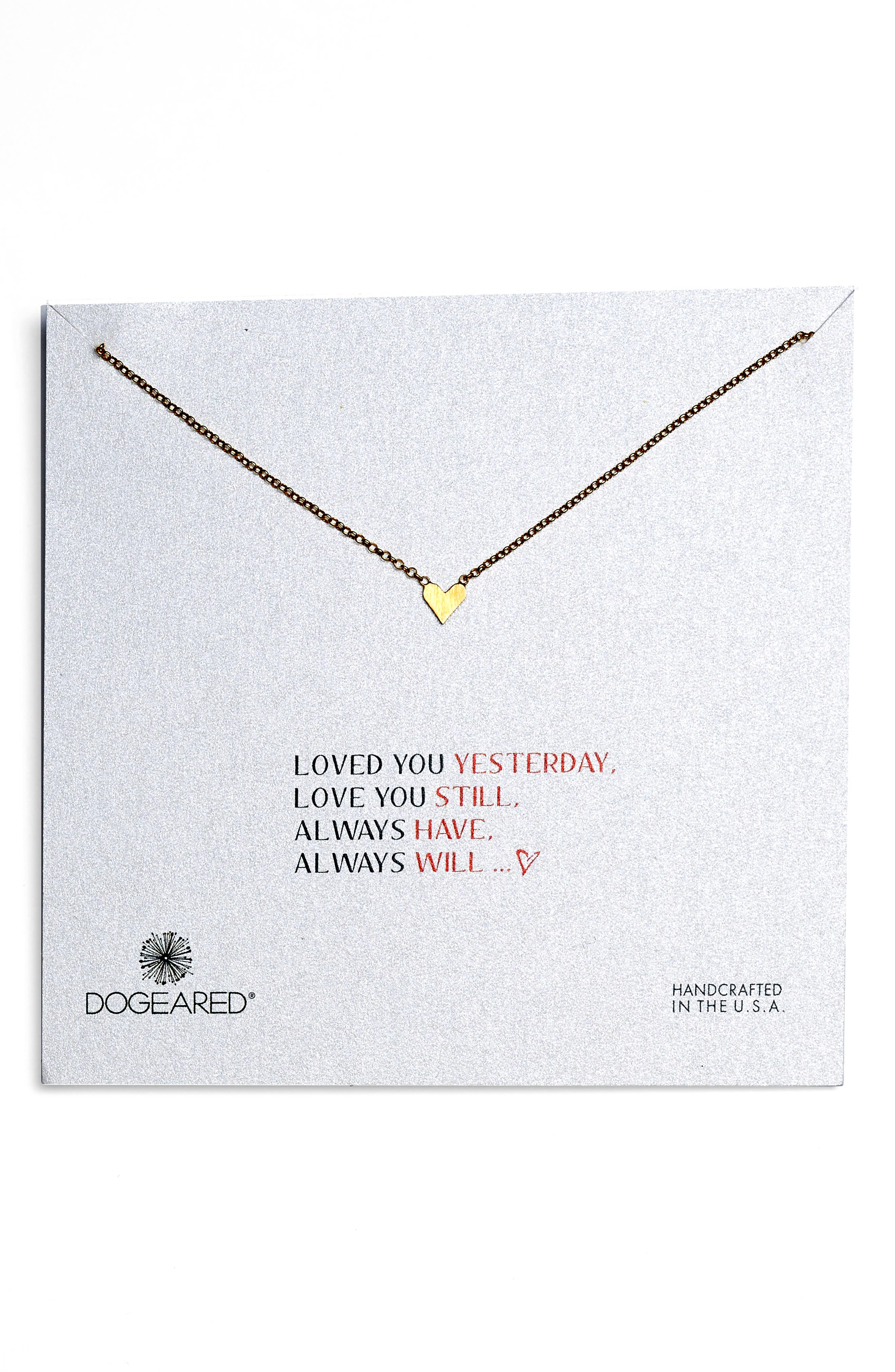Love You Simple Heart Necklace,                         Main,                         color,