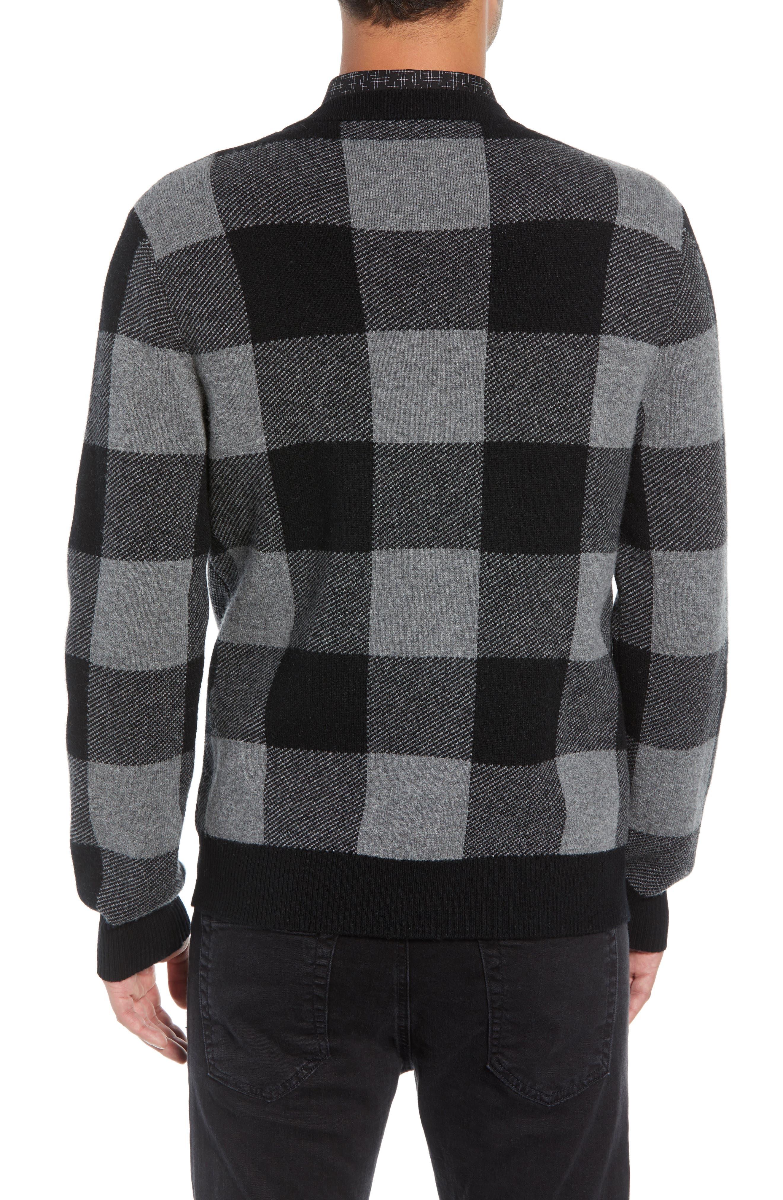 Regular Fit Check Wool Cardigan,                             Alternate thumbnail 2, color,                             BLACK/ GREY