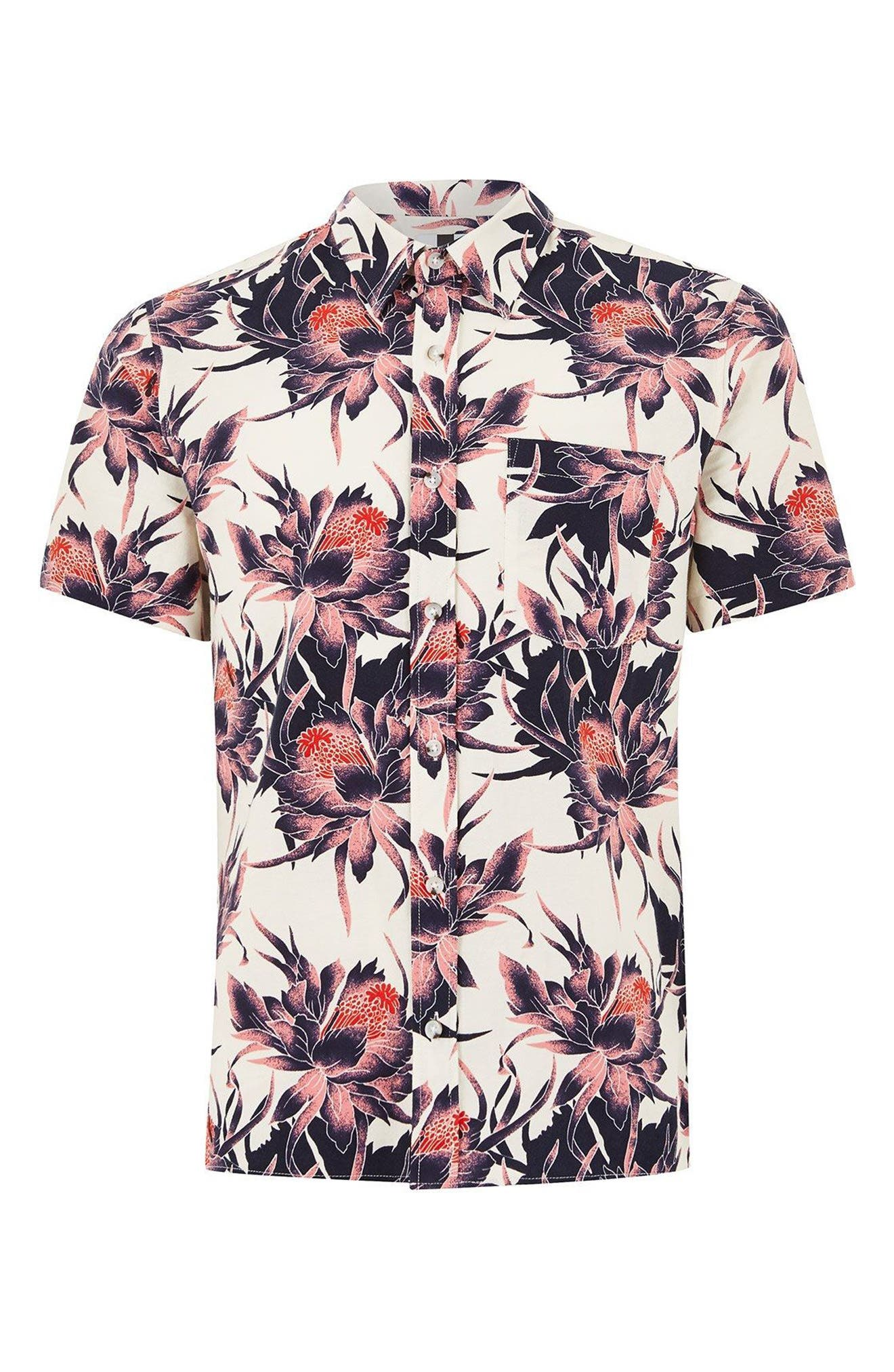 Floral Print Shirt,                             Alternate thumbnail 4, color,                             100