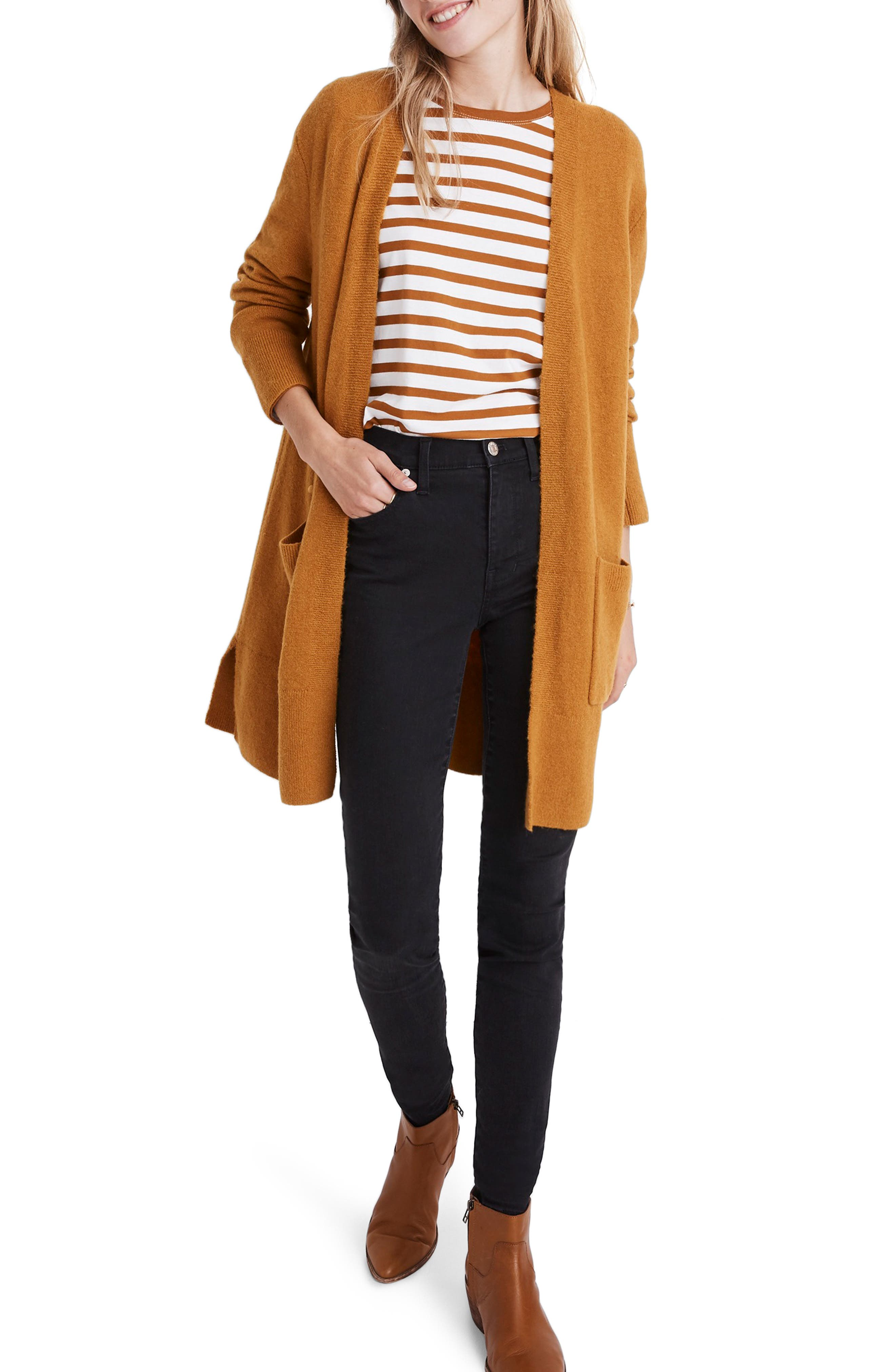 MADEWELL Kent Cardigan Sweater, Main, color, GOLDEN HARVEST