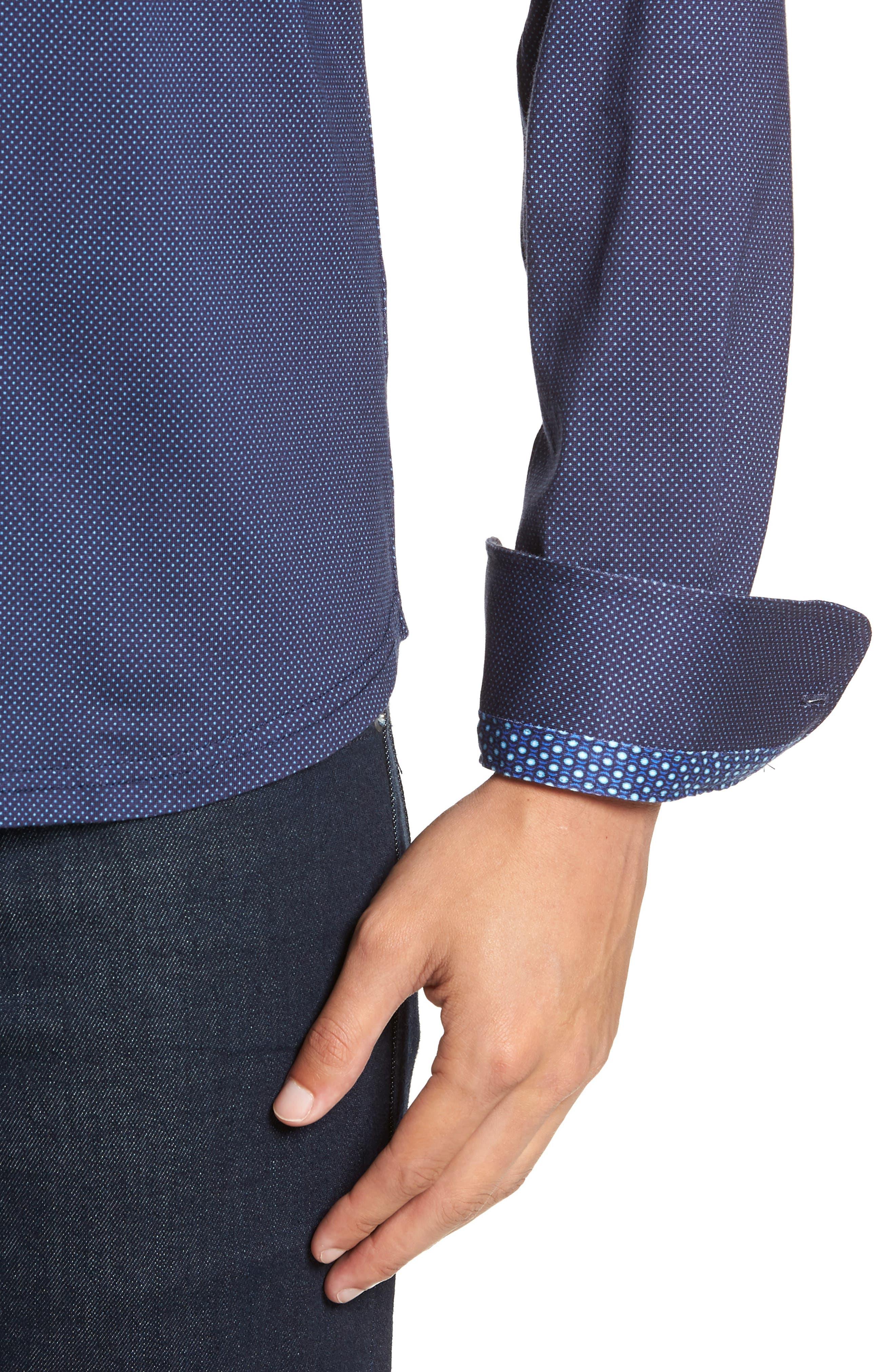 Trim Fit Knit Sport Shirt,                             Alternate thumbnail 2, color,                             NAVY