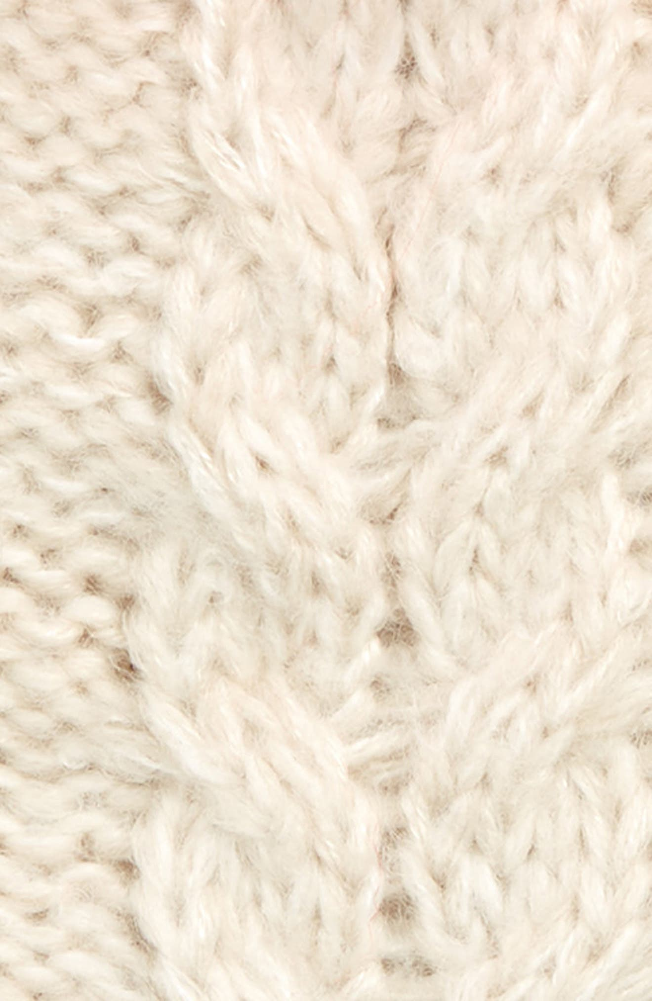 Cabled Beanie with Faux Fur Pom,                             Alternate thumbnail 2, color,                             ECR ECRU MARL