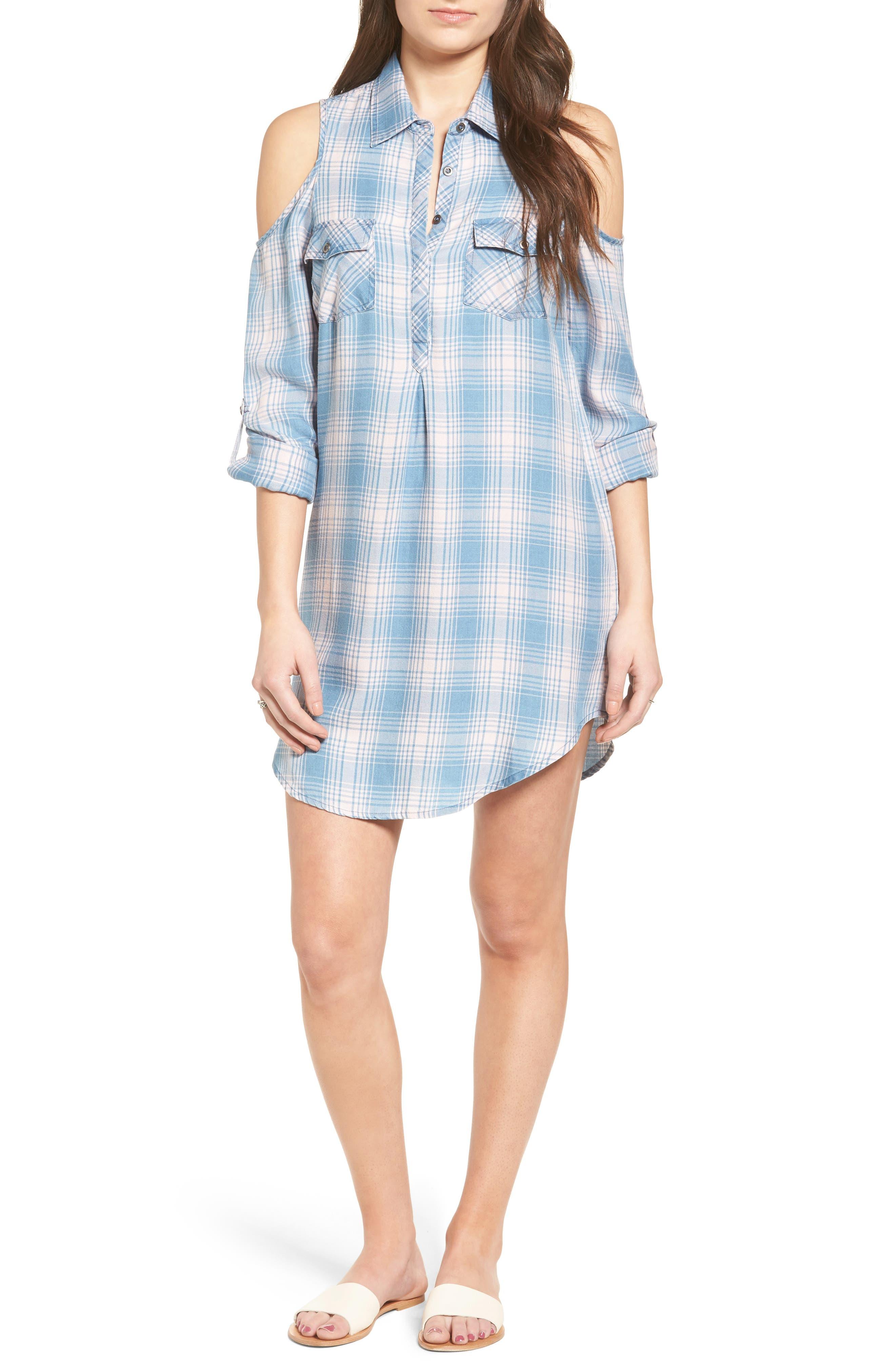 Cold Shoulder Plaid Shirtdress,                             Main thumbnail 1, color,