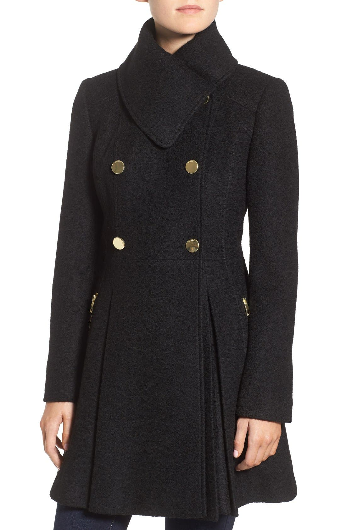 Envelope Collar Double Breasted Coat,                             Alternate thumbnail 4, color,                             001