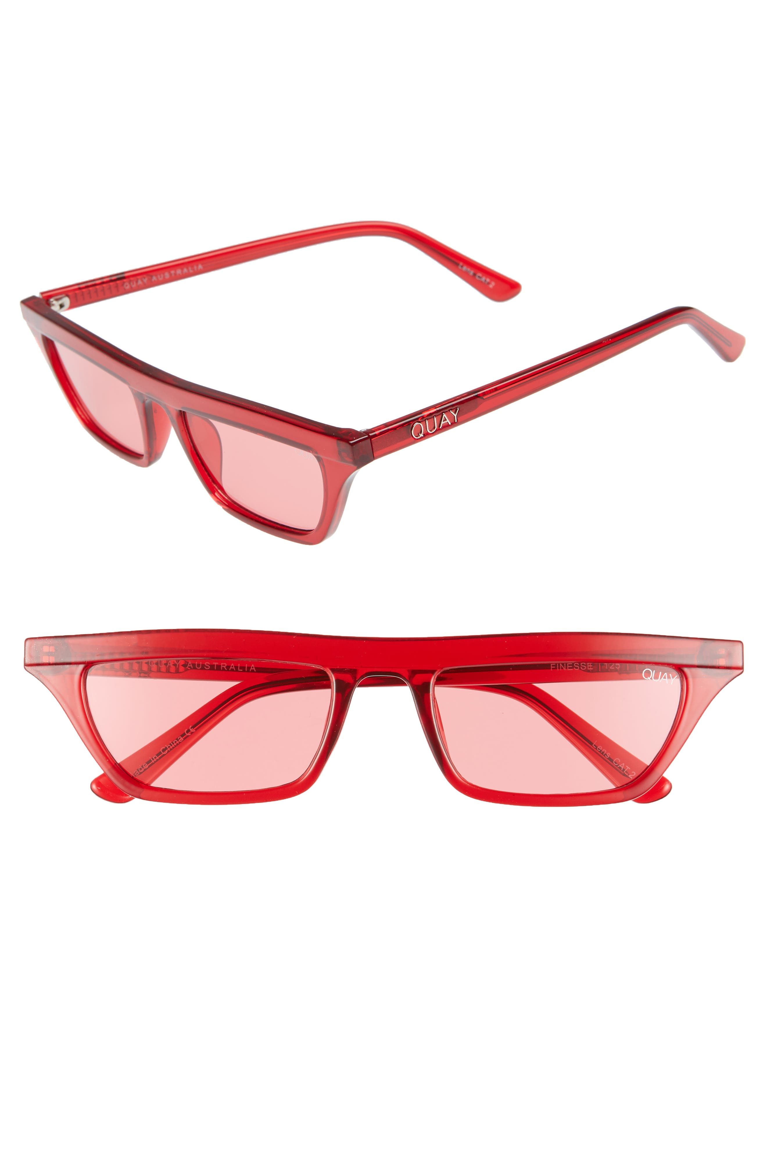Quay FINESSE 52MM SUNGLASSES - RED/ RED