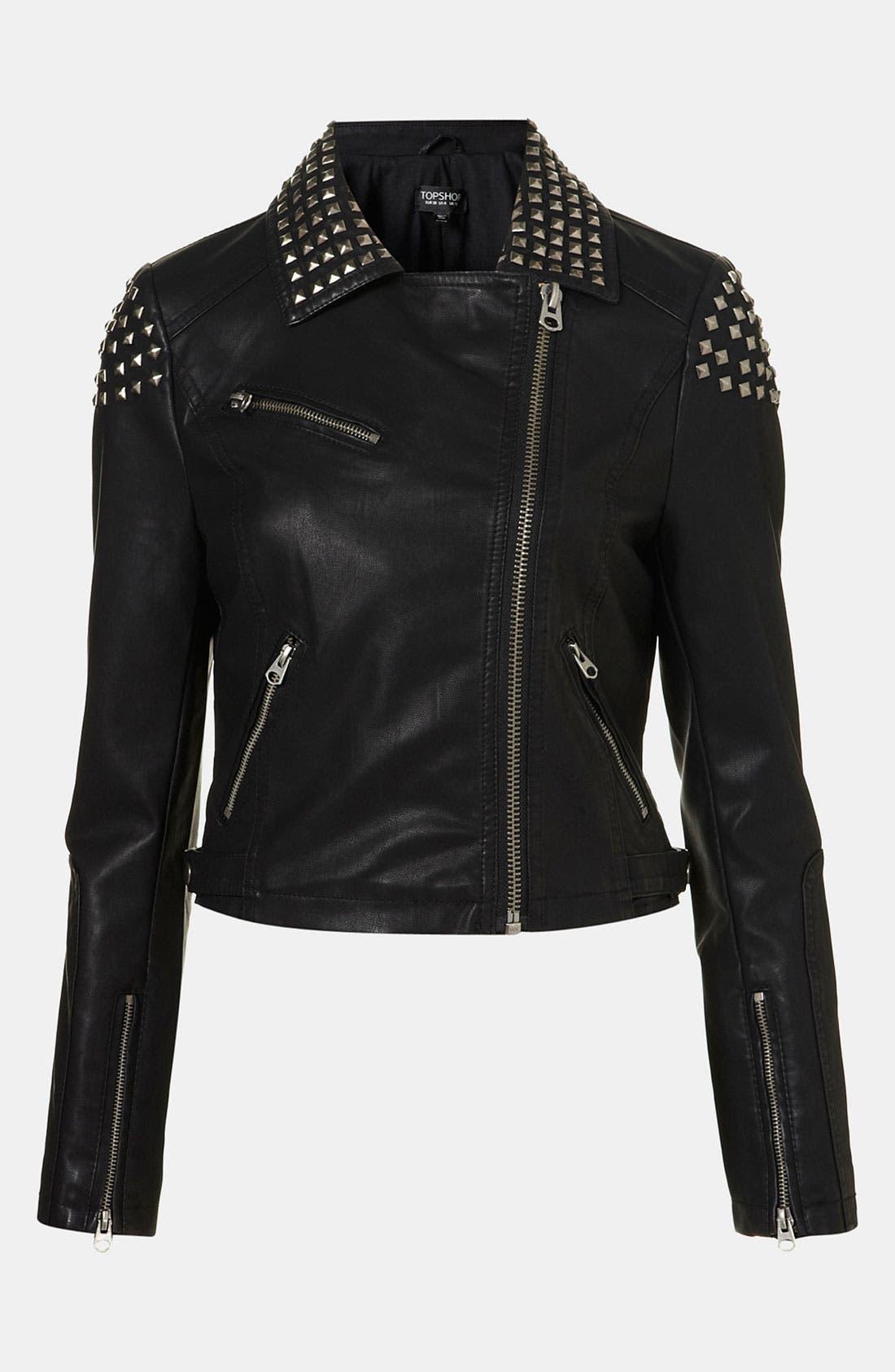 Studded Faux Leather Biker Jacket,                         Main,                         color,