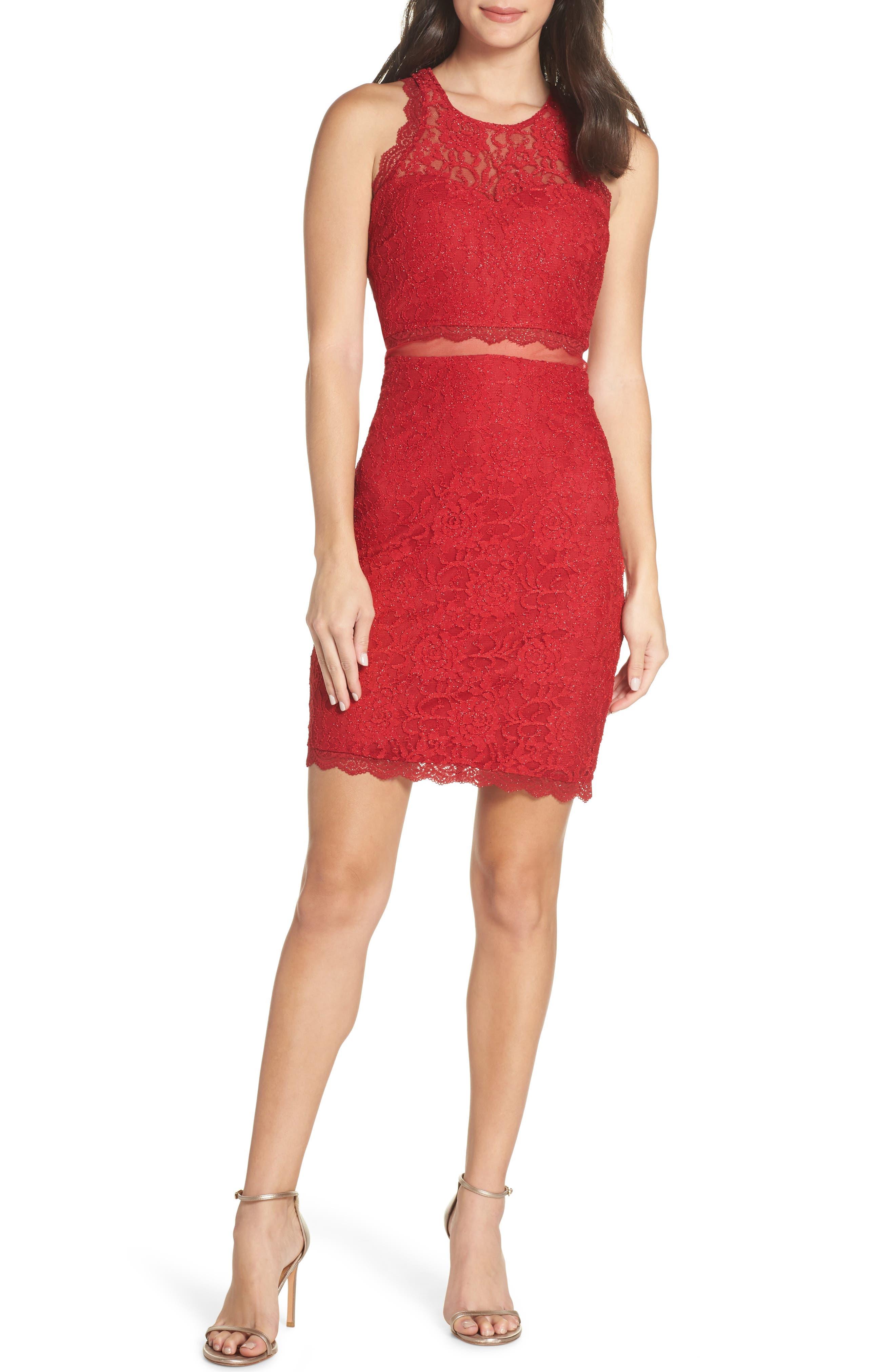 Sleeveless Glitter Lace Sheath Dress,                         Main,                         color, RE RED