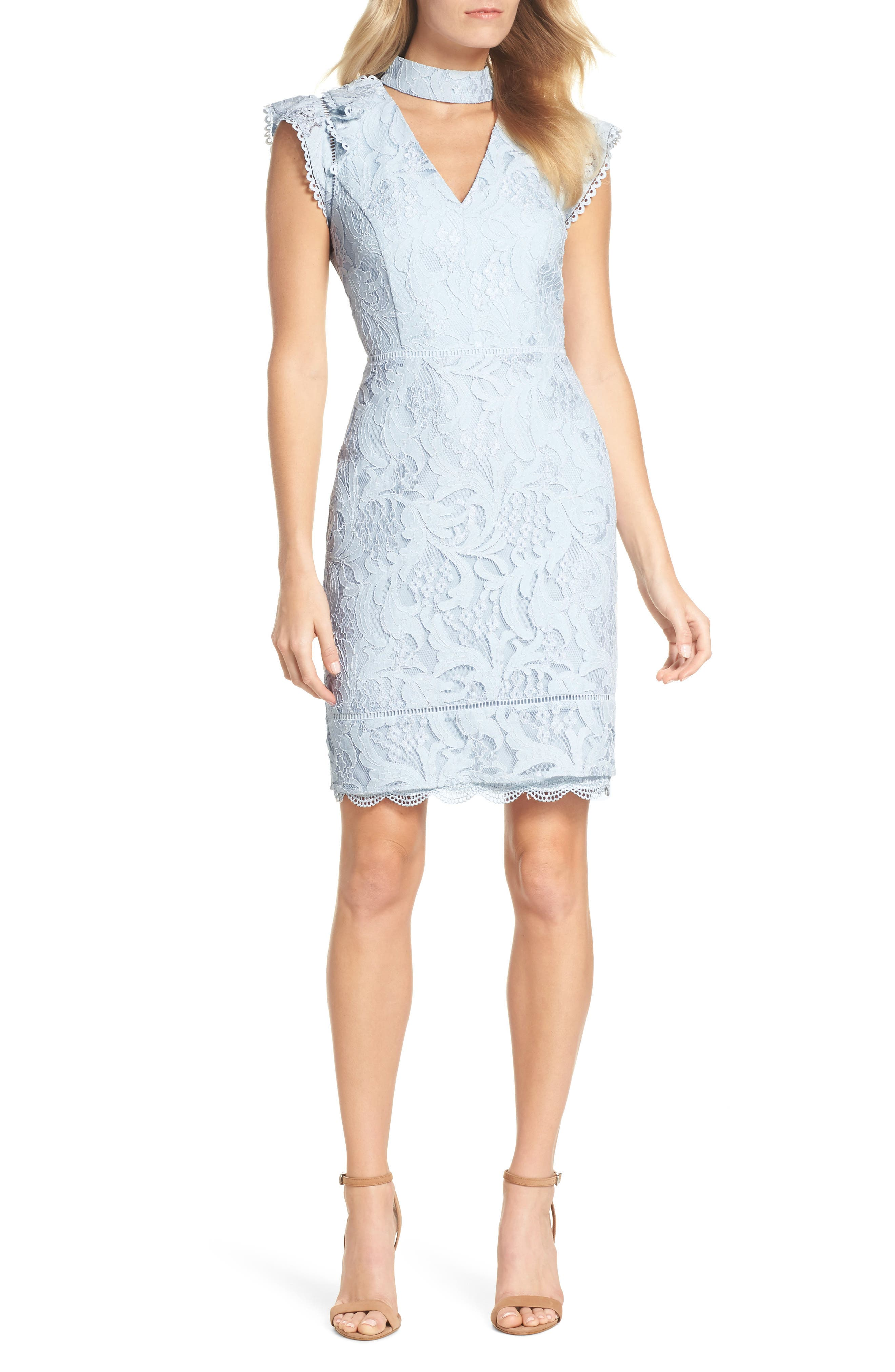 Delilah Lace Sheath Dress,                             Main thumbnail 1, color,