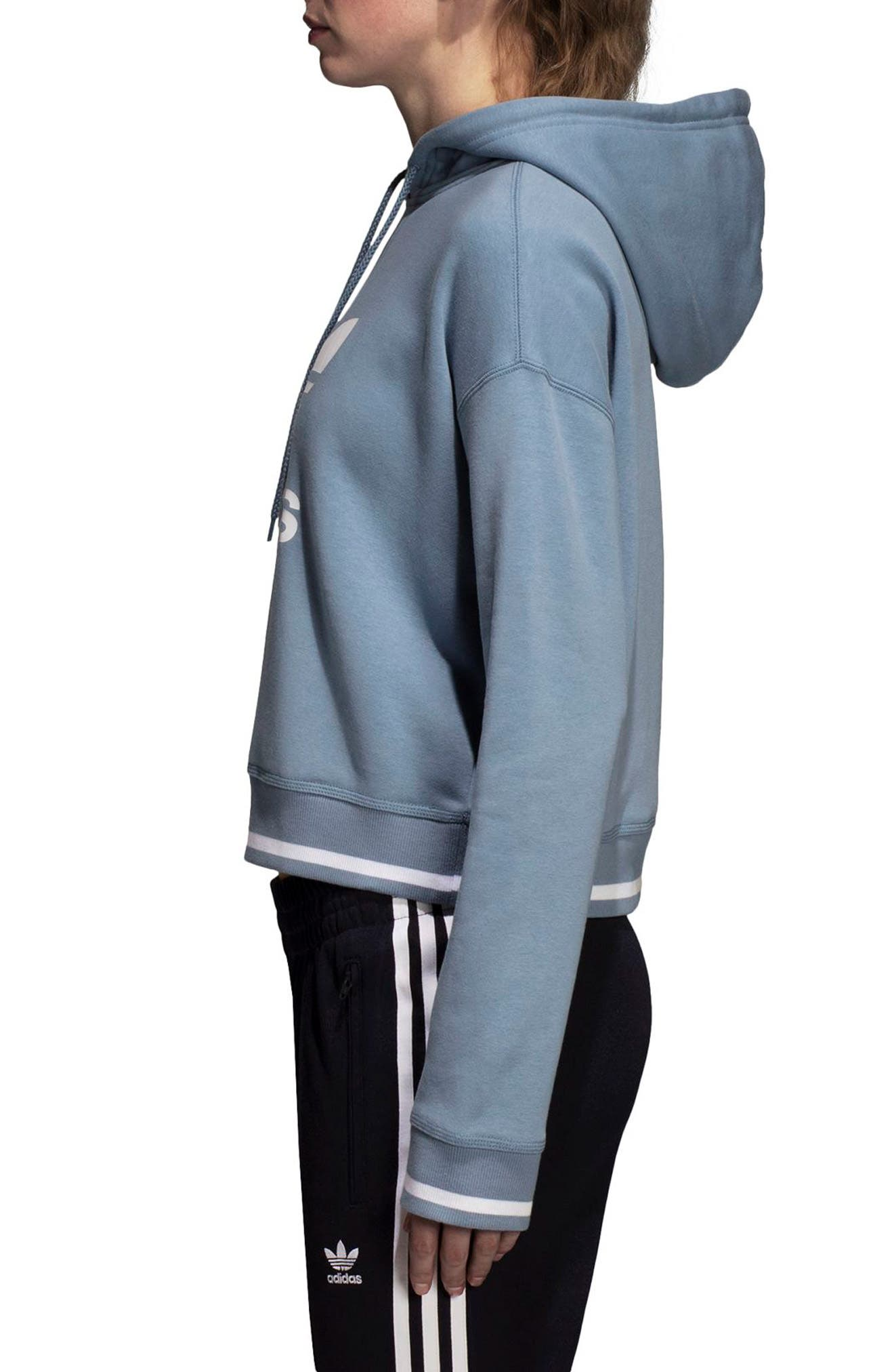 adidas Active Icons Crop Hoodie,                             Alternate thumbnail 3, color,                             060