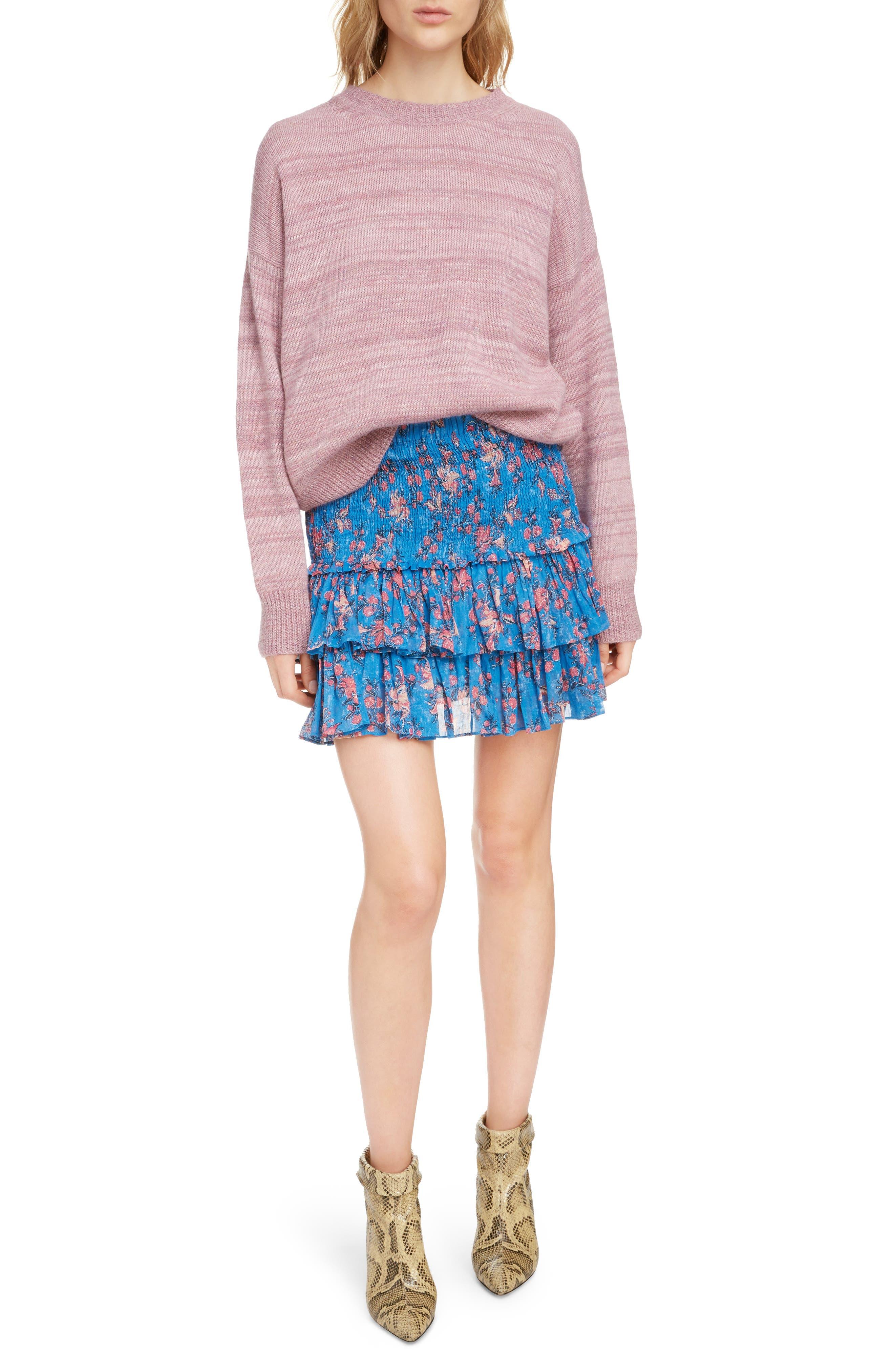 Naomi Shirred Miniskirt,                             Alternate thumbnail 6, color,                             BLUE