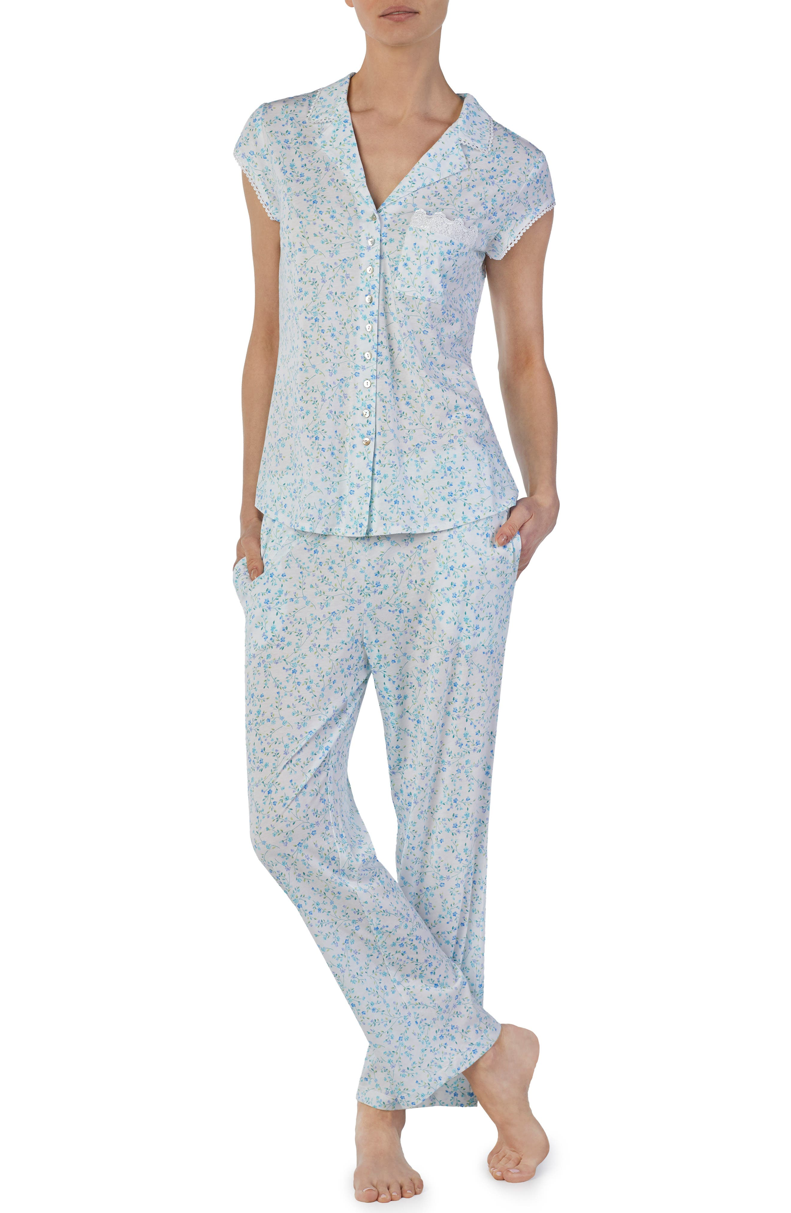 Eileen West Knit Pajamas, Blue/green