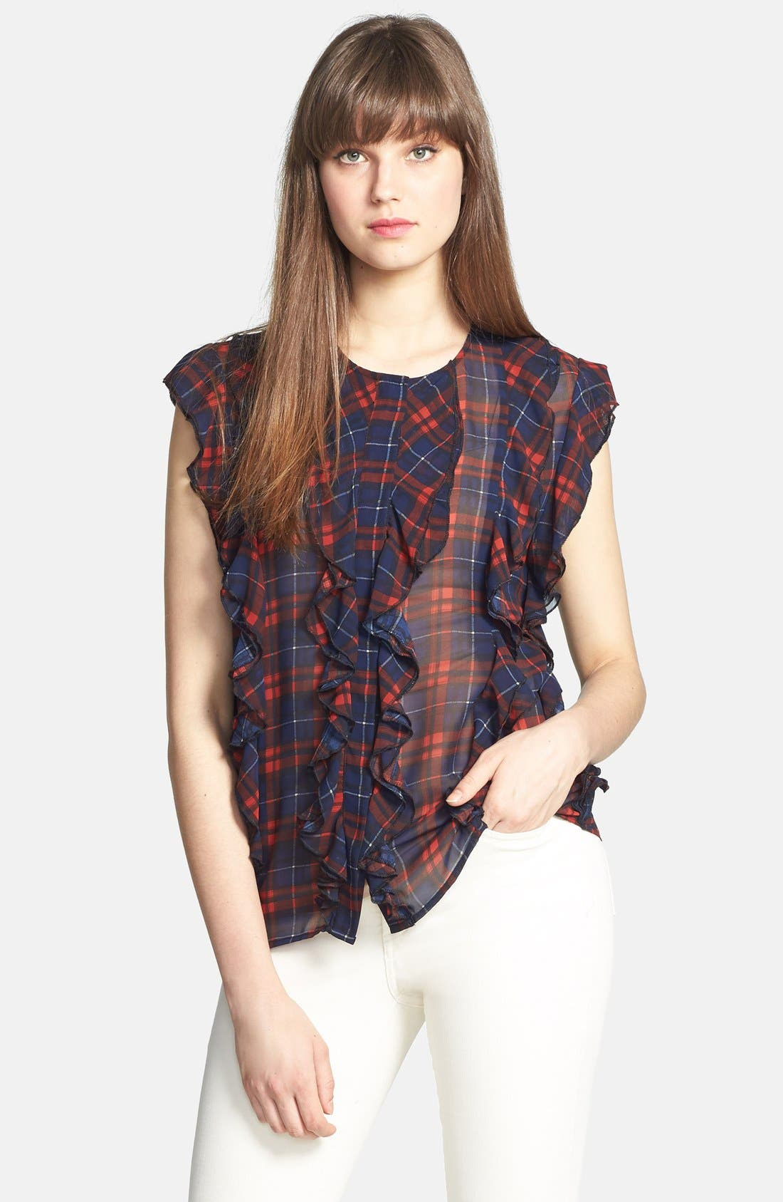 'Cascading Ruffles' Plaid Blouse,                             Main thumbnail 1, color,                             613