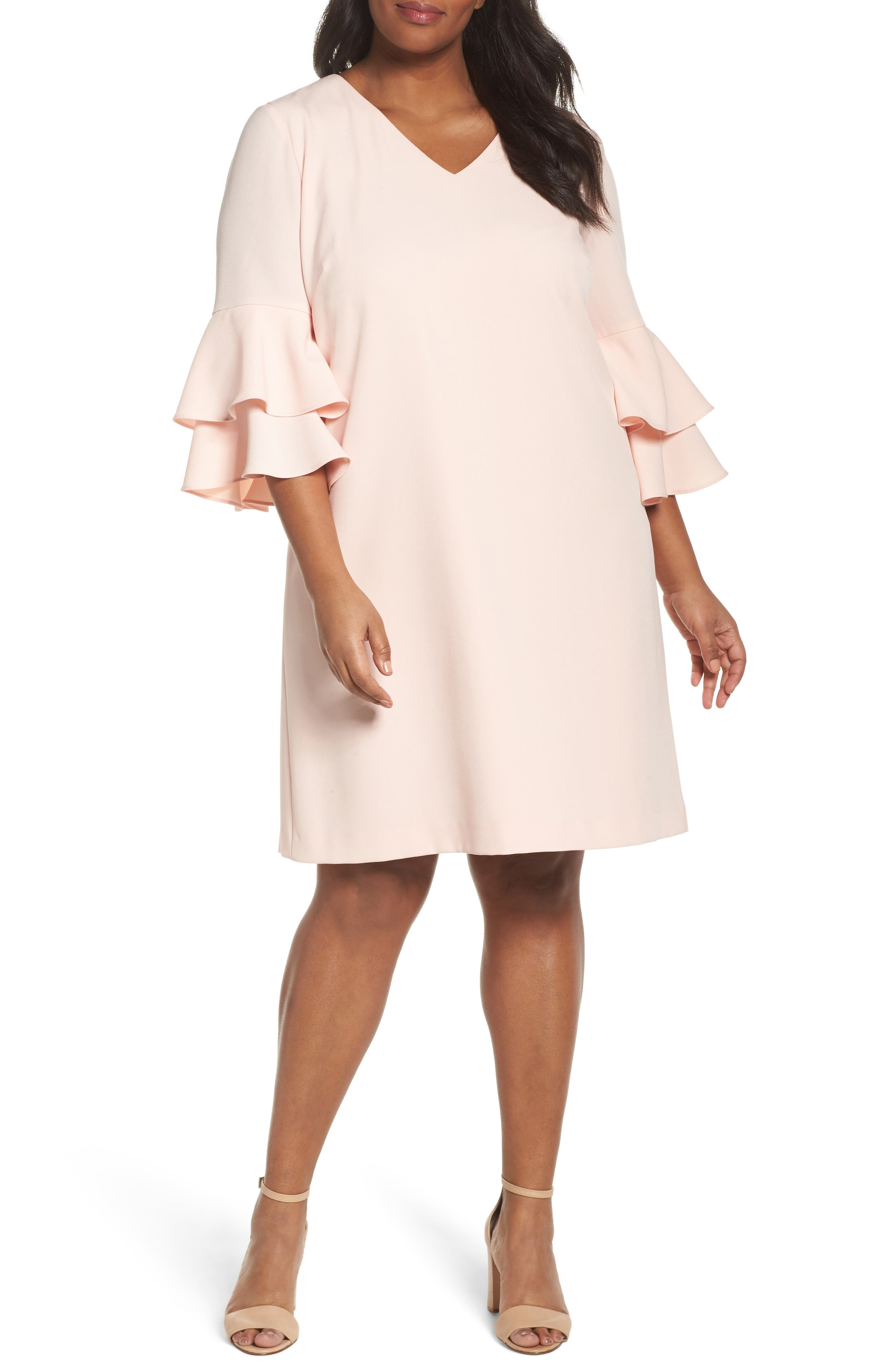 Bell Sleeve Ruffle Shift Dress,                         Main,                         color,