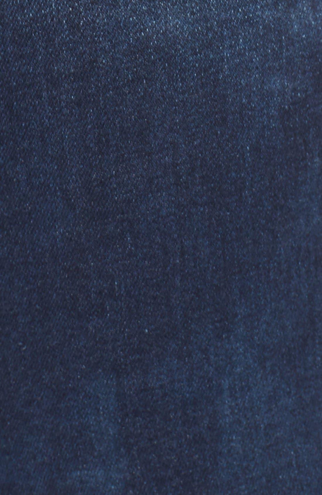 'Dismantle' Ripped Stretch Skinny Jeans,                             Alternate thumbnail 5, color,                             DARK DENIM