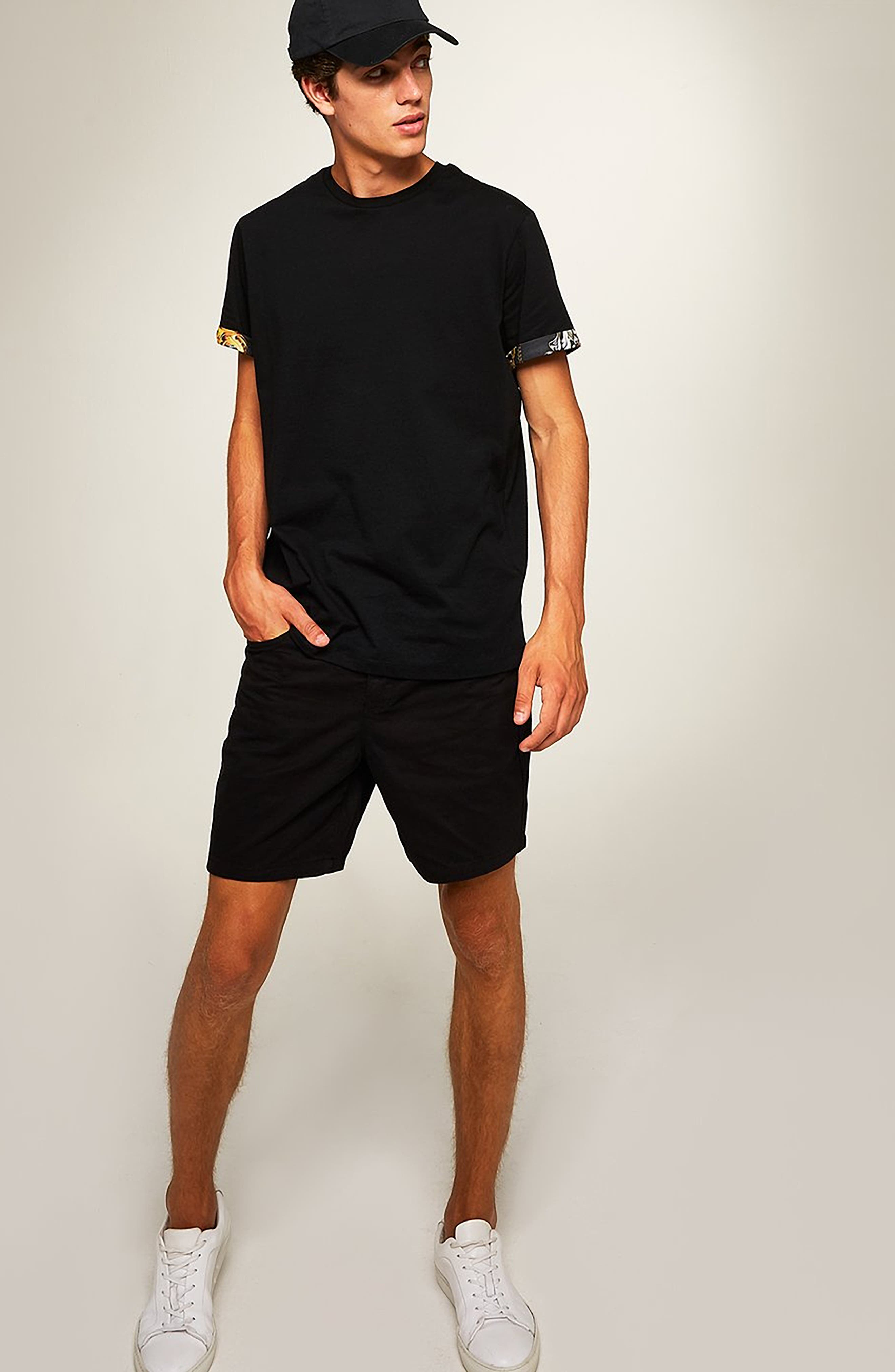 Baroque Trim Roller T-Shirt,                             Alternate thumbnail 5, color,                             BLACK