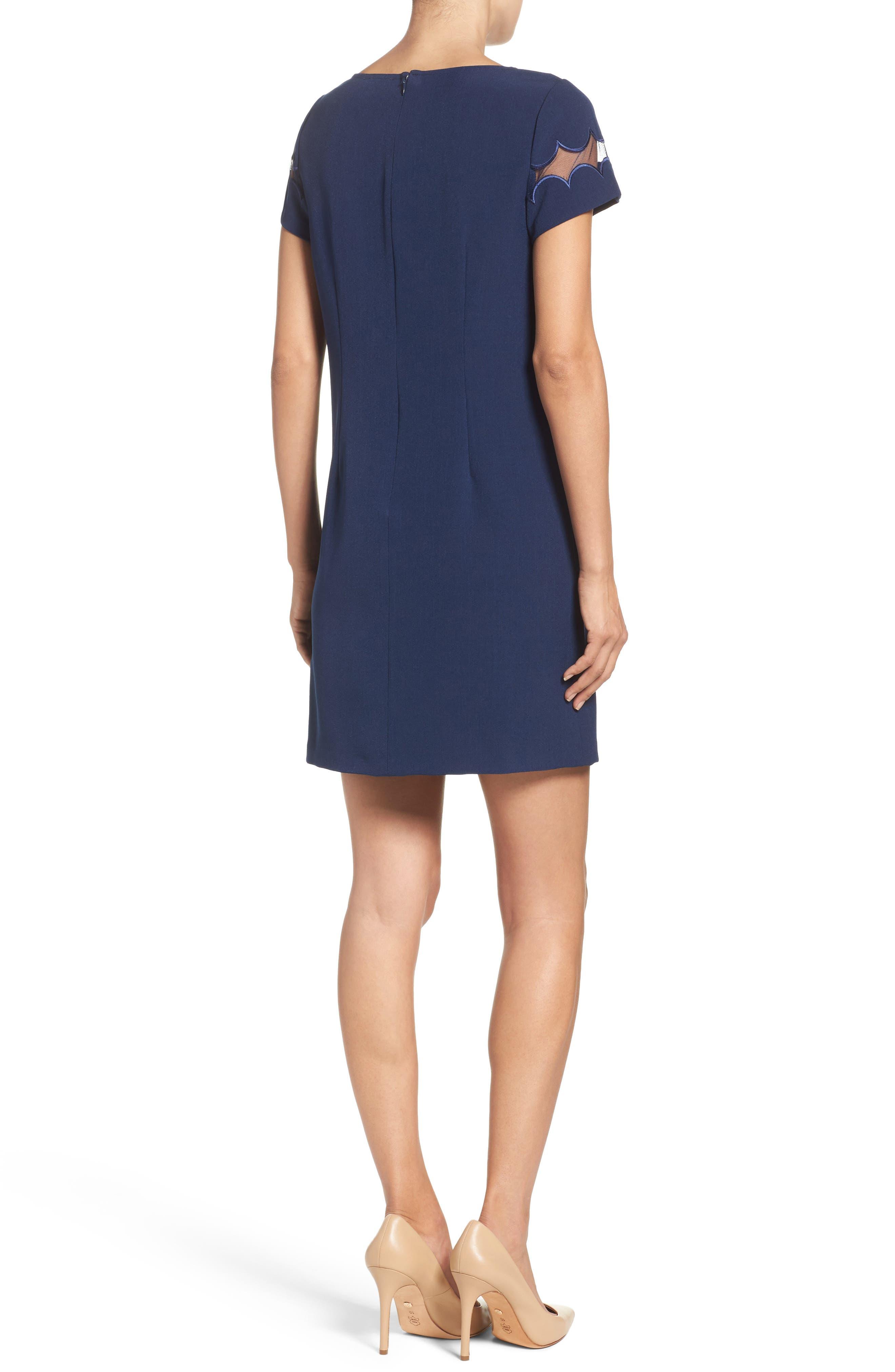 Scallop Inset Crepe Sheath Dress,                             Alternate thumbnail 2, color,                             412