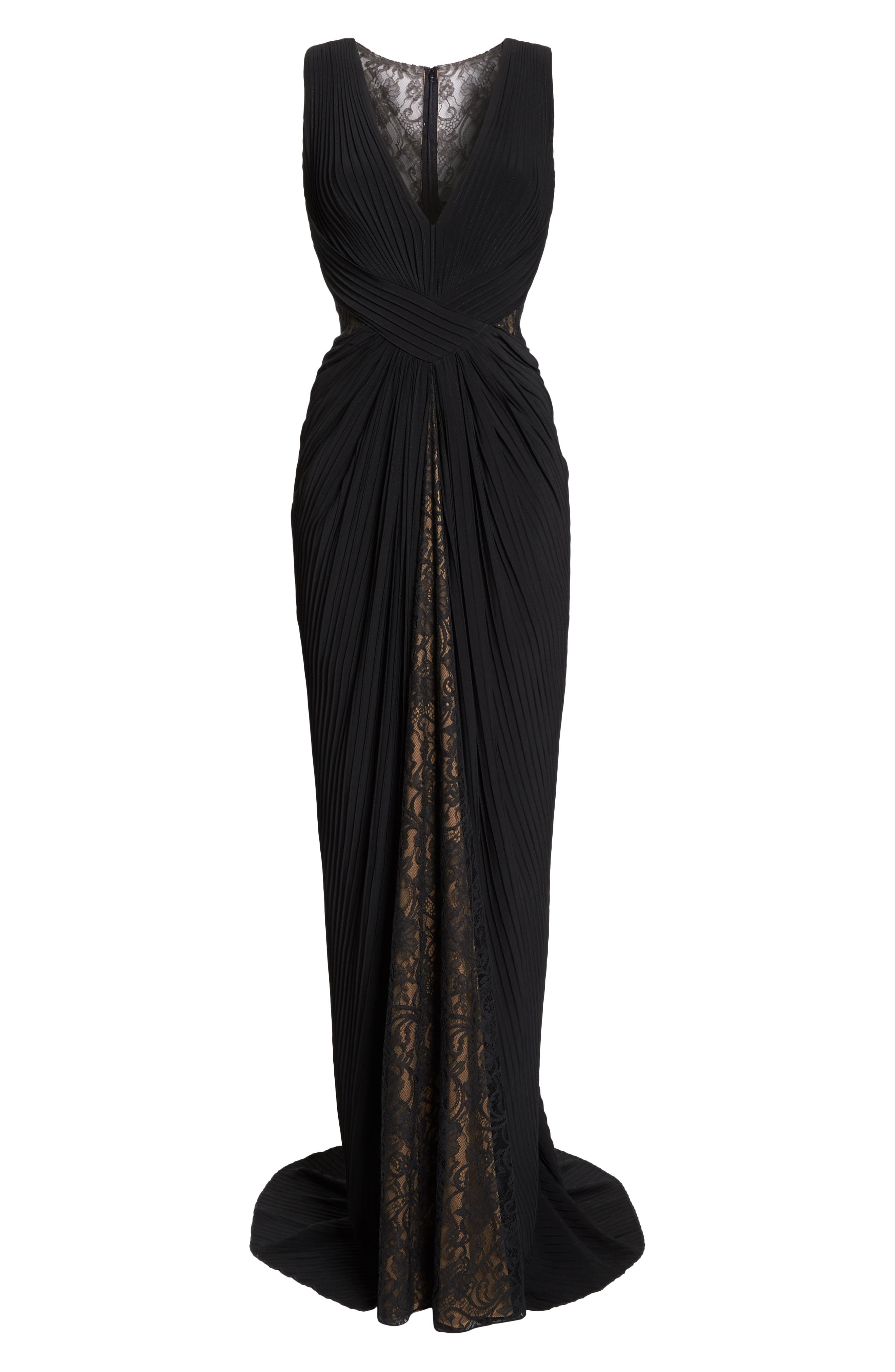 Pintuck & Lace Gown,                             Alternate thumbnail 7, color,                             BLACK/ NUDE