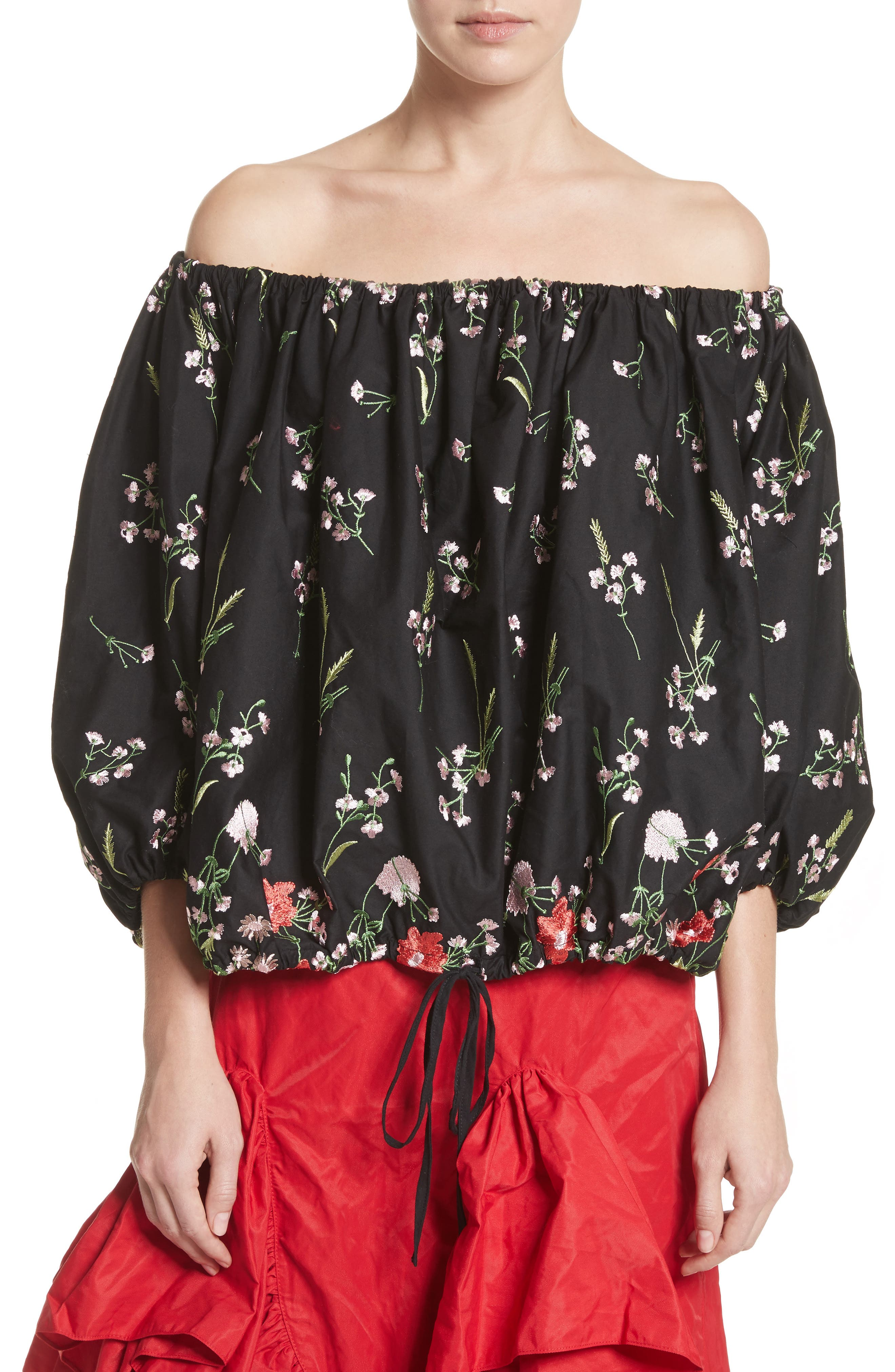 Marques'Almeida Embroidered Off the Shoulder Top,                             Main thumbnail 1, color,
