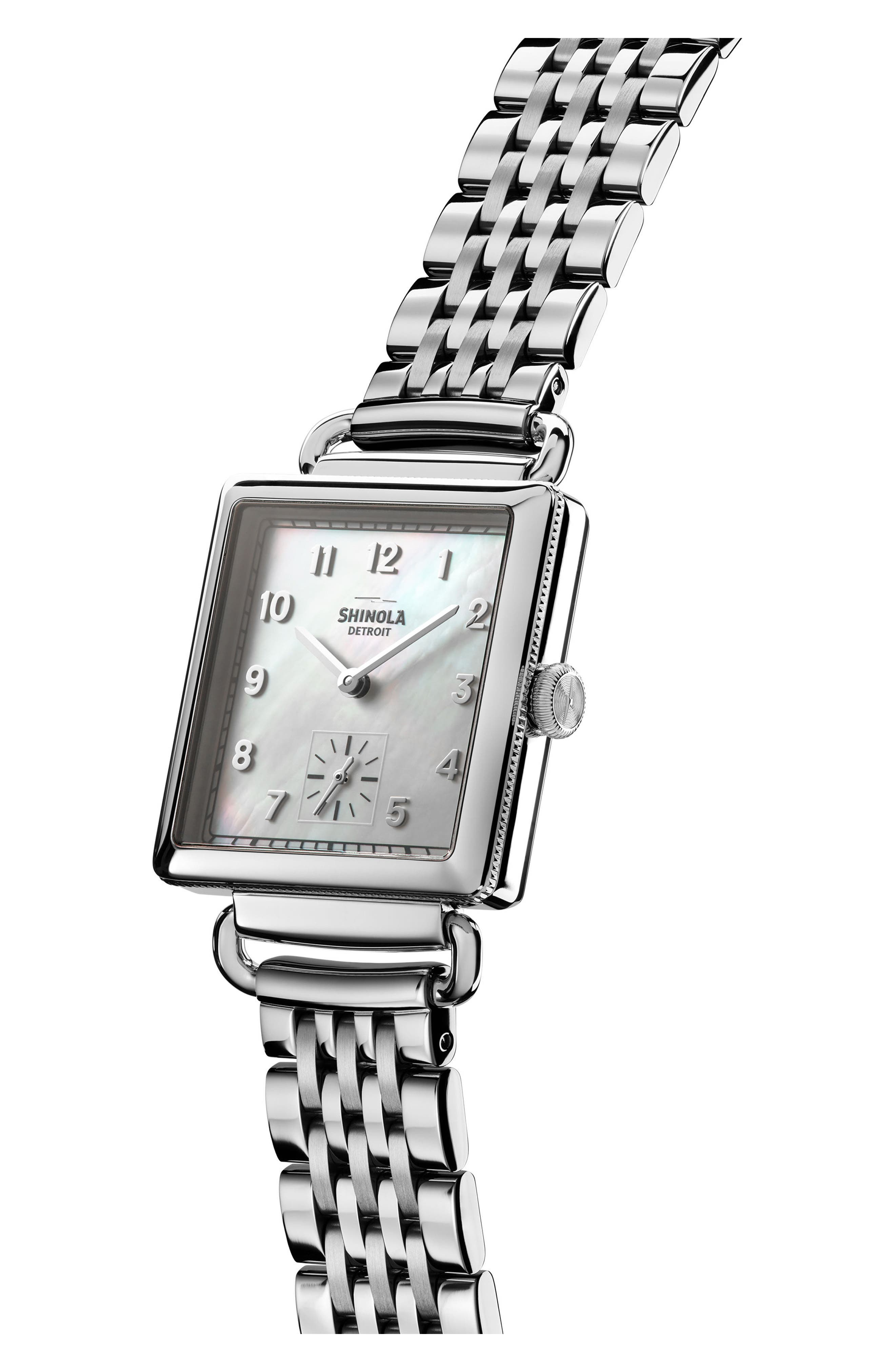 Cass Bracelet Watch, 27mm x 27mm,                             Alternate thumbnail 3, color,                             SILVER/ MOP/ SILVER