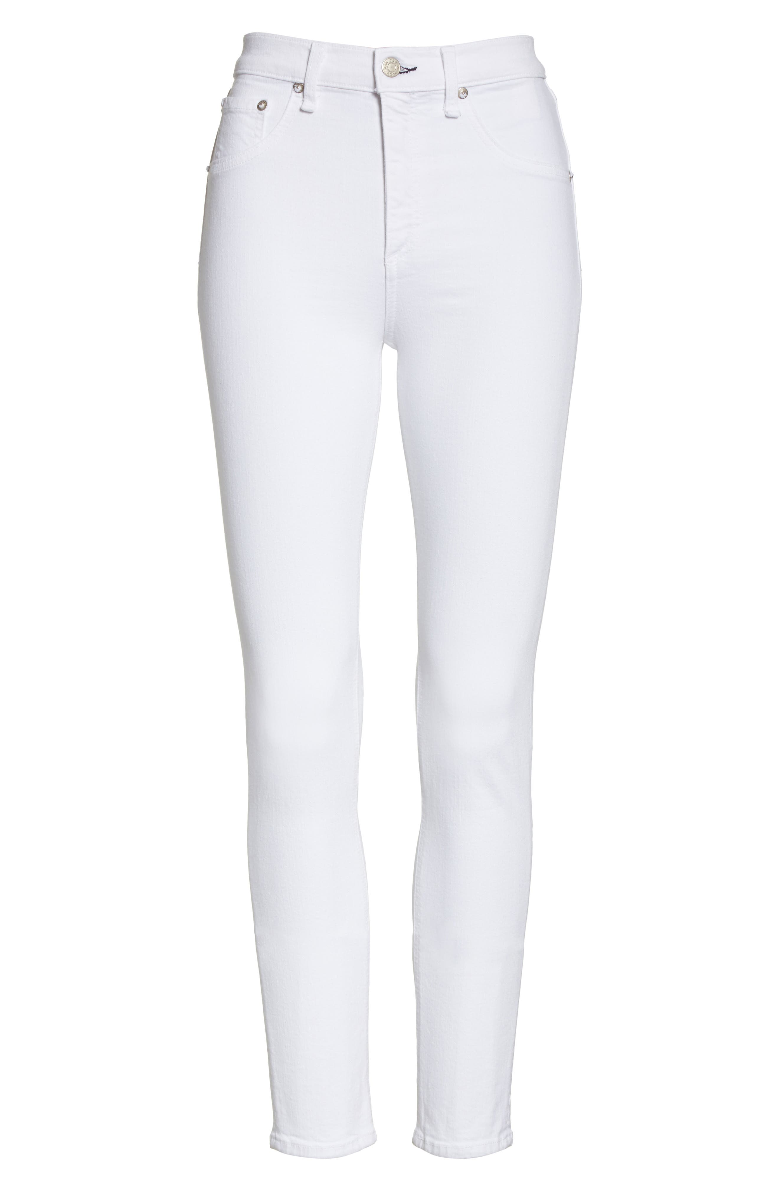 High Waist Ankle Skinny Jeans,                             Alternate thumbnail 7, color,                             BLANC