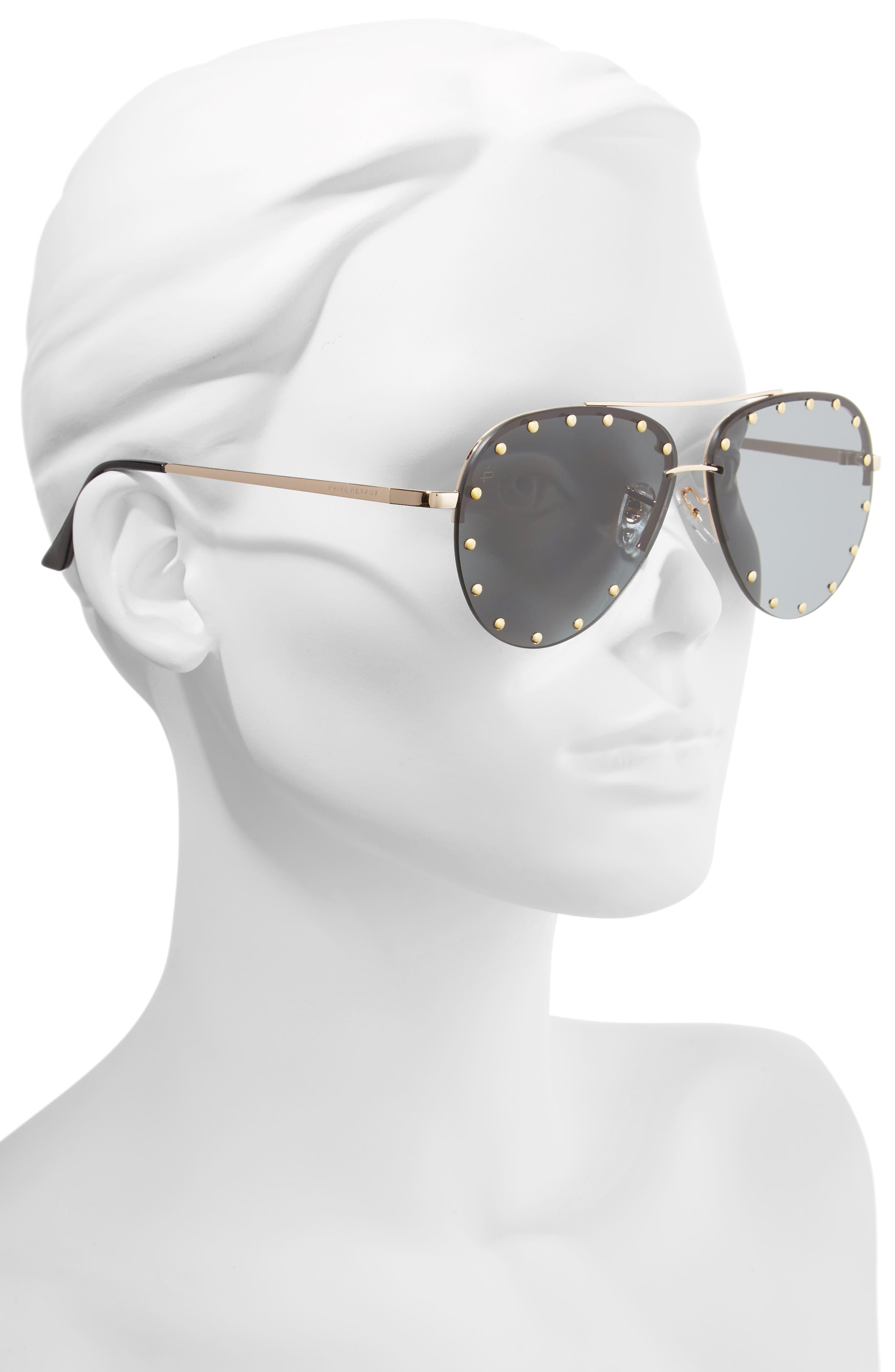 Privé Revaux The Sixth Man 60mm Studded Aviator Sunglasses,                             Alternate thumbnail 2, color,                             001