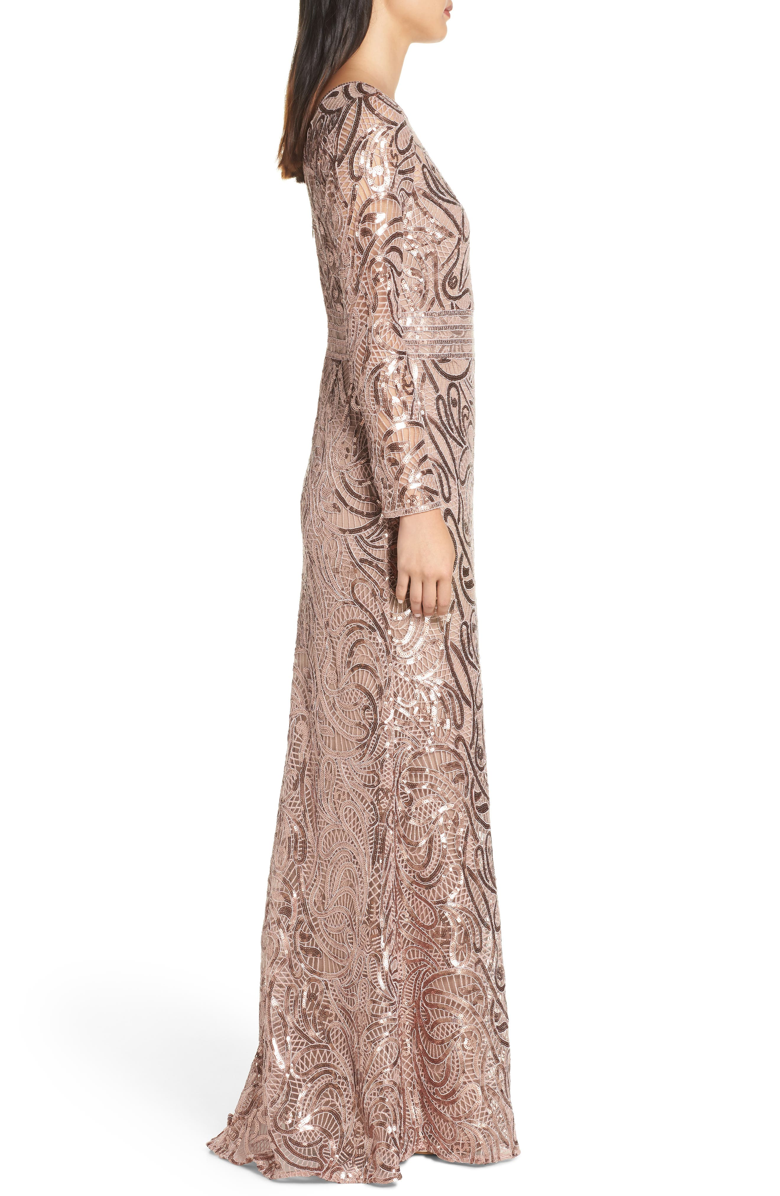 Sequin Crochet Mermaid Gown,                             Alternate thumbnail 4, color,                             DUSTY ROSE
